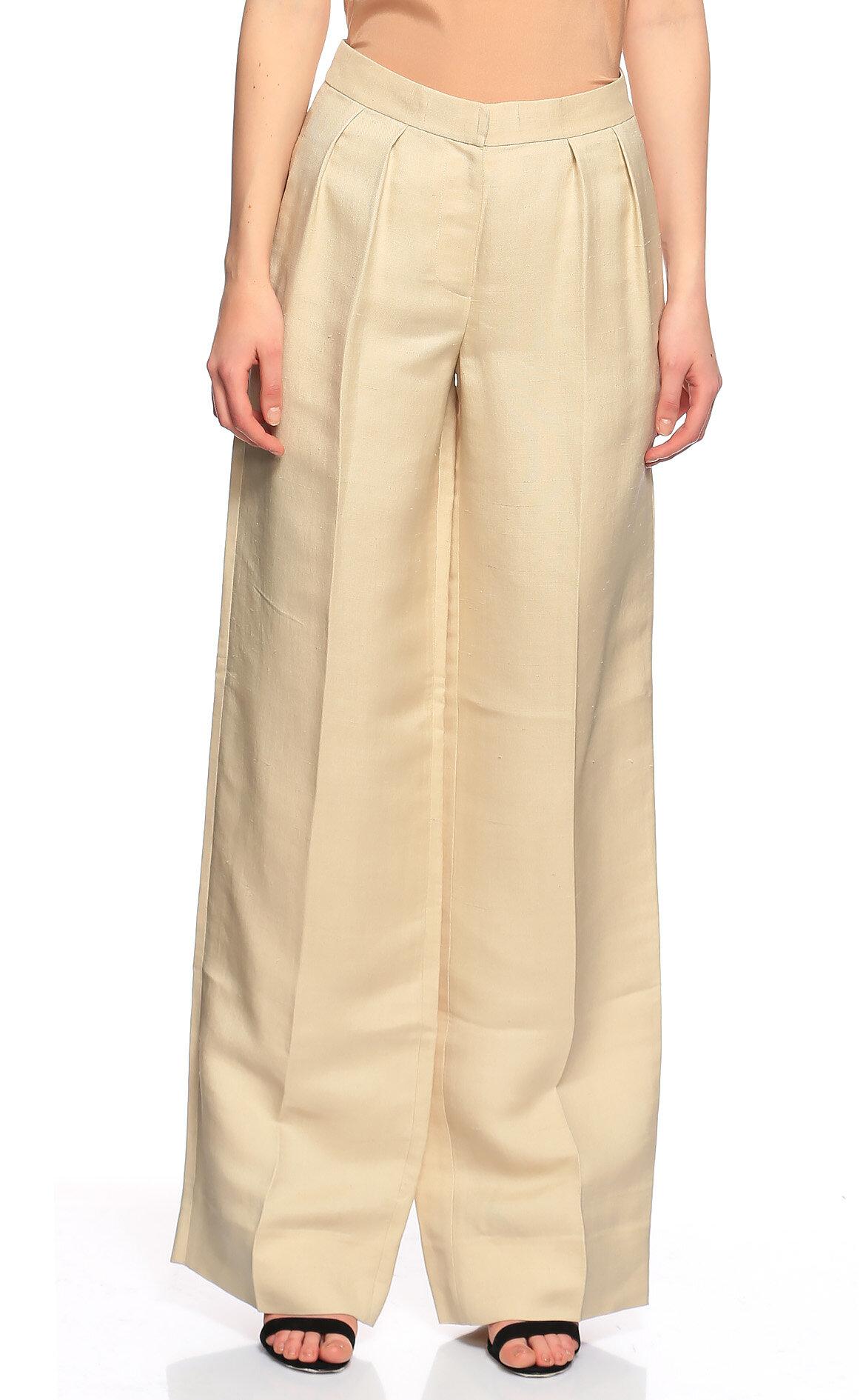Donna Karan-Donna Karan Geniş Kesim Krem Pantolon