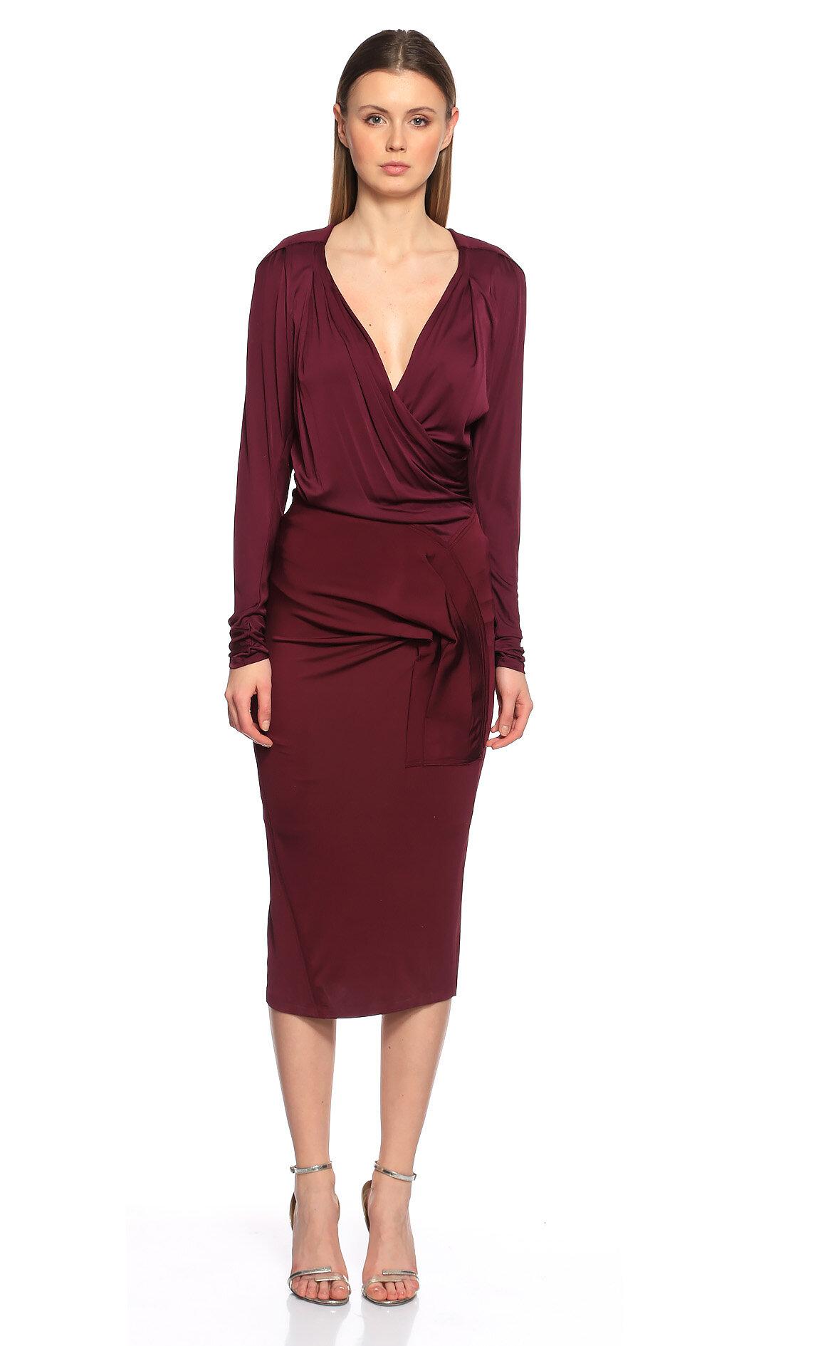 Donna Karan-Donna Karan V Yaka Midi Mor Elbise