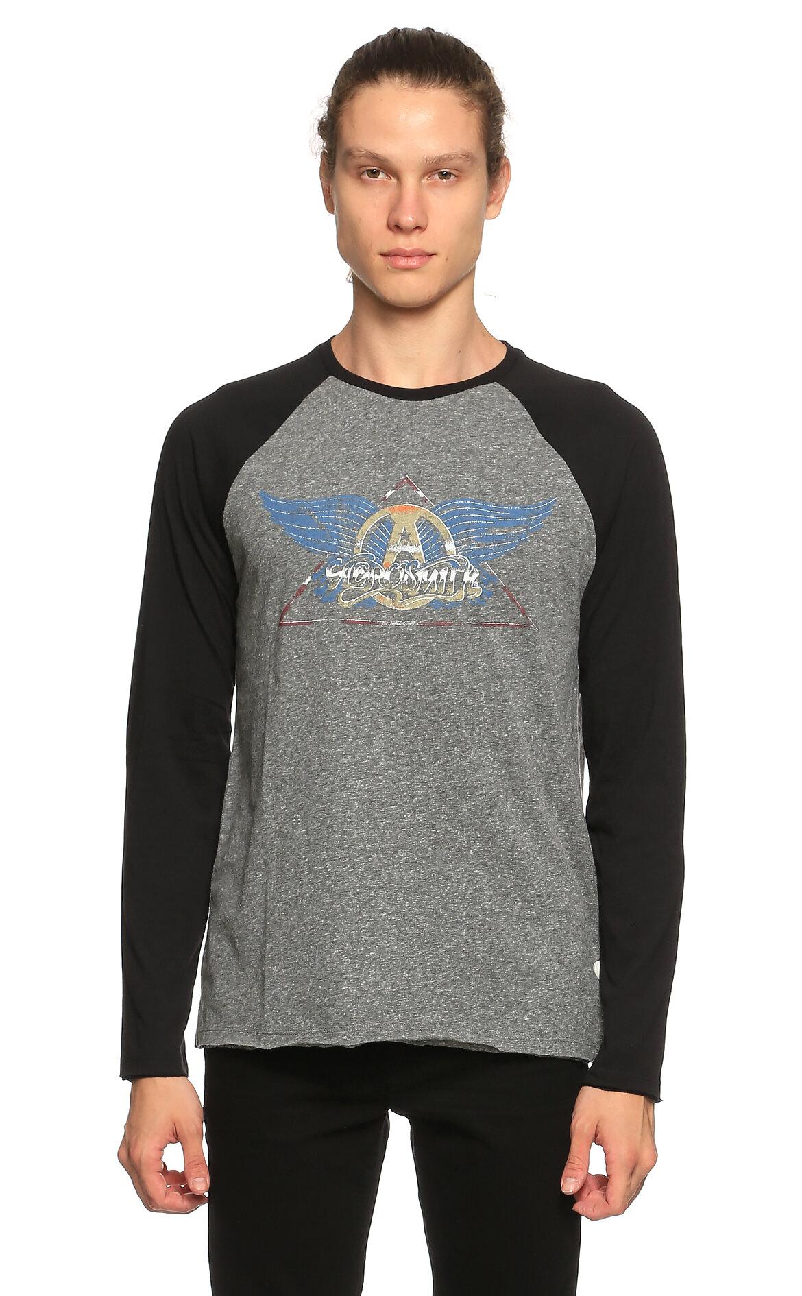 John Varvatos USA-John Varvatos Usa Baskı Desen Uzun Kollu Gri T-Shirt