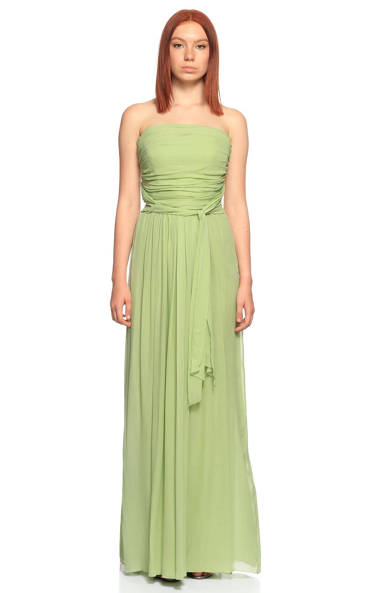 Philosophy Ferretti-Philosophy Ferretti Straplez Uzun Fıstık Yeşili Gece Elbisesi