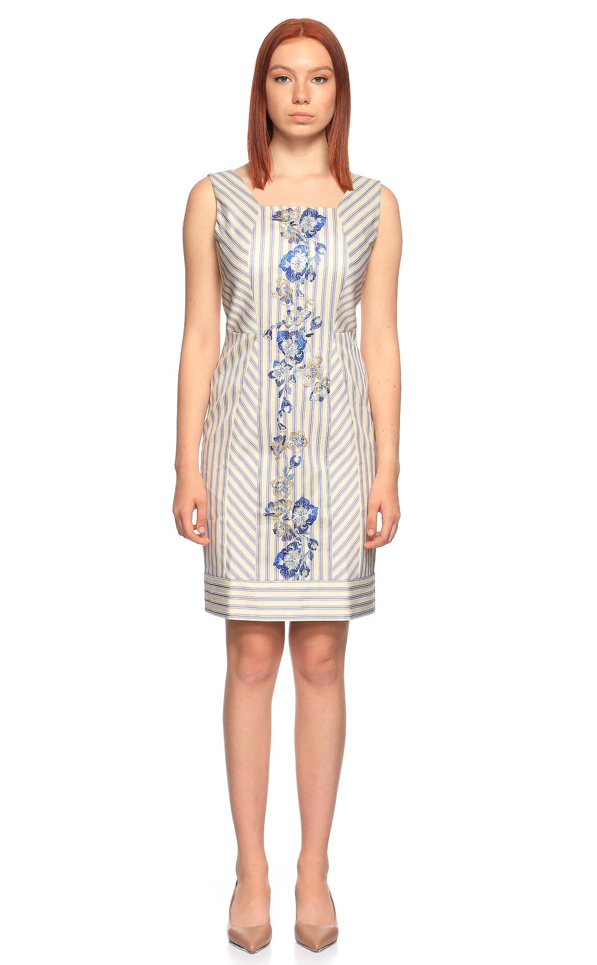 Philosophy Ferretti-Philosophy Ferretti İşleme Detaylı Çizgili Elbise