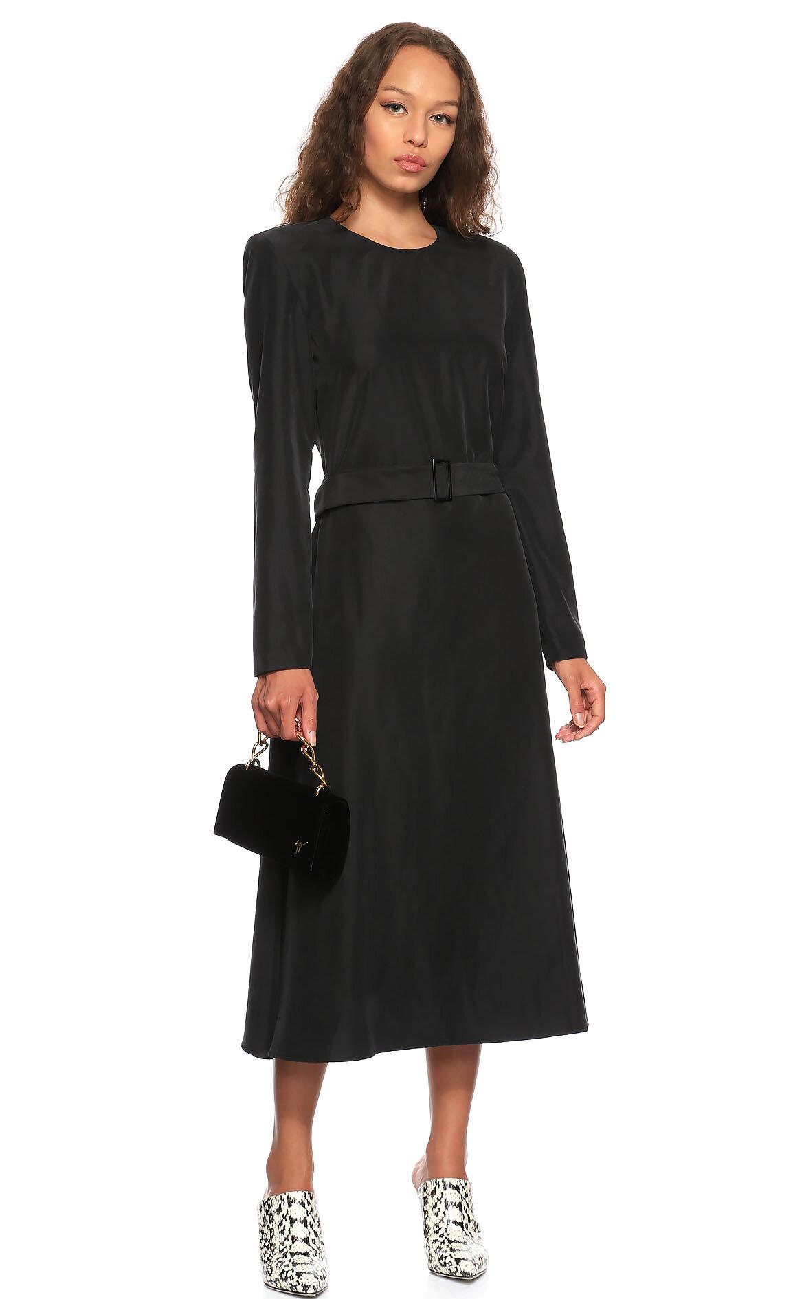 Bande Noir  Midi Siyah Elbise