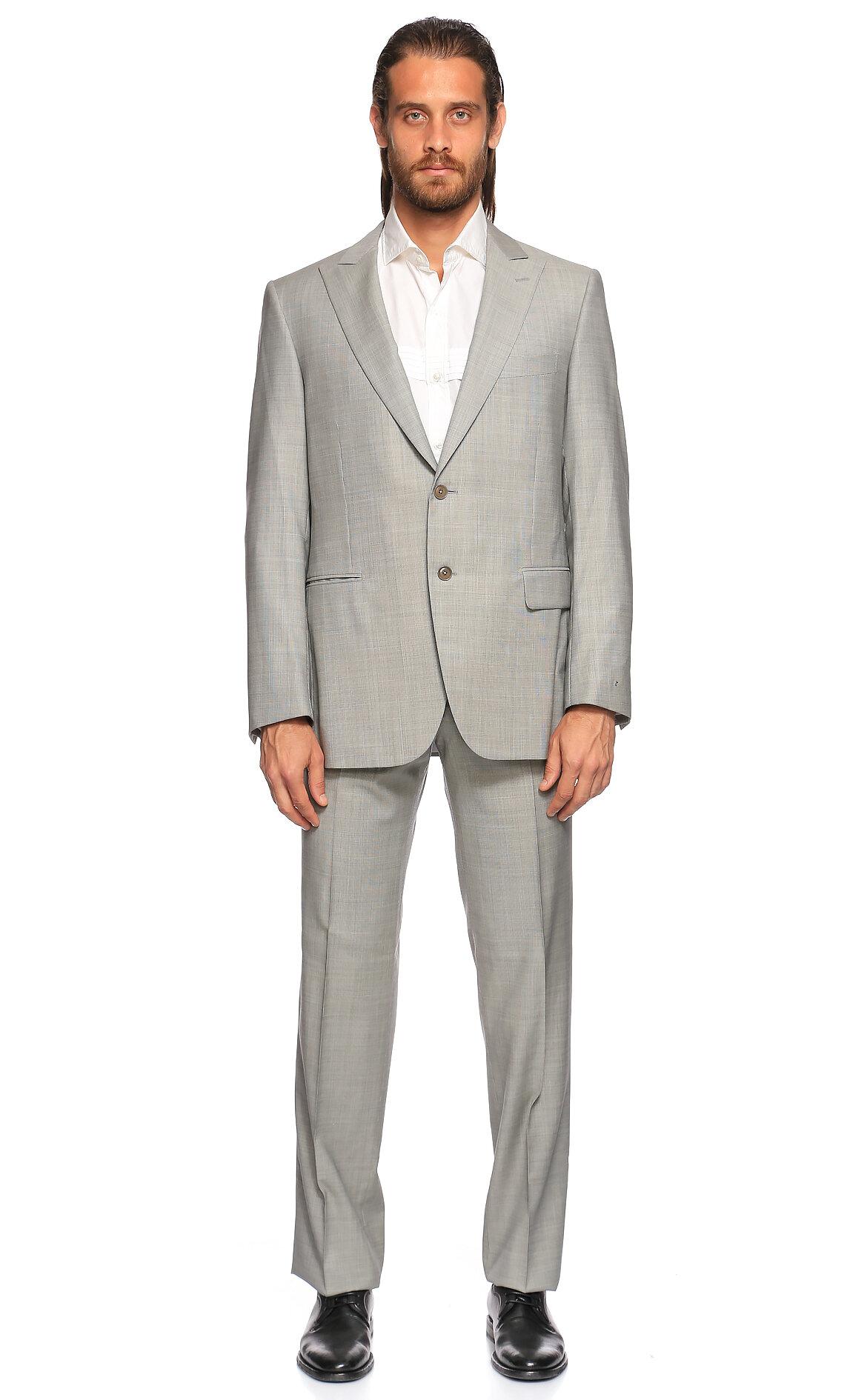 Pal Zileri-Pal Zileri Kareli Gri Takım Elbise