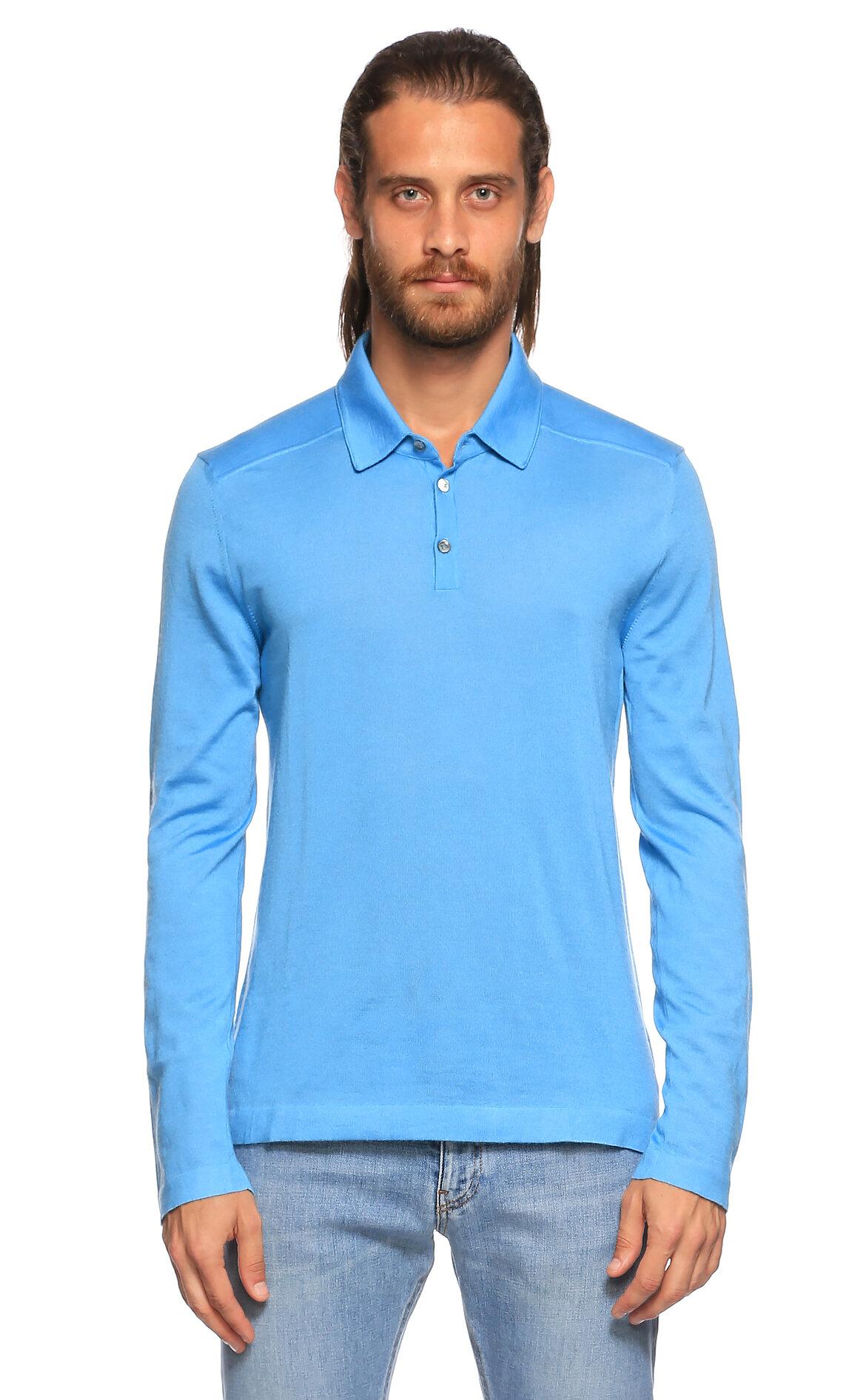Malo-Malo Polo Uzun Kollu Mavi T-Shirt