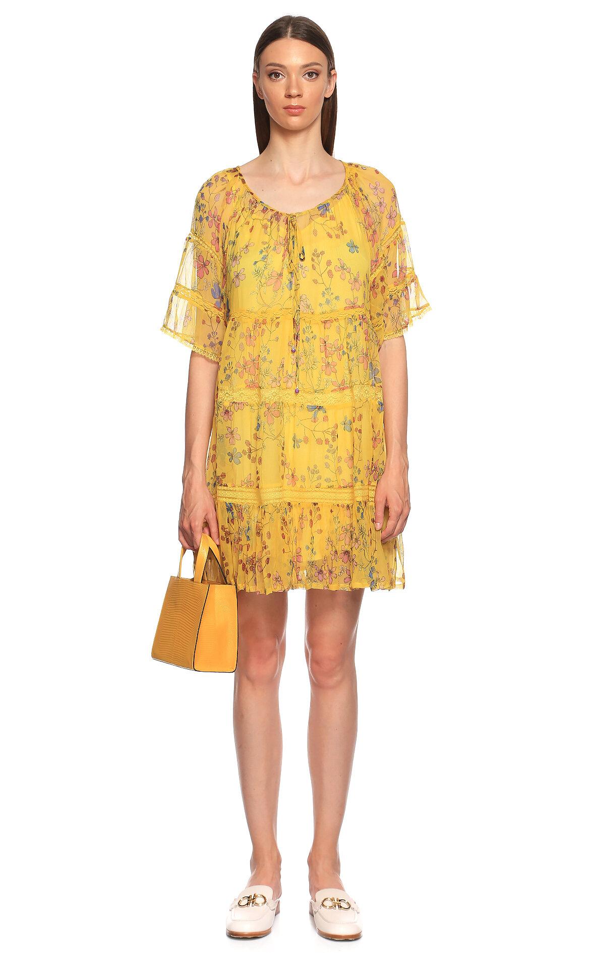 Rene Derhy-Rene Derhy Çiçek Desenli Mini Sarı Uzun Elbise
