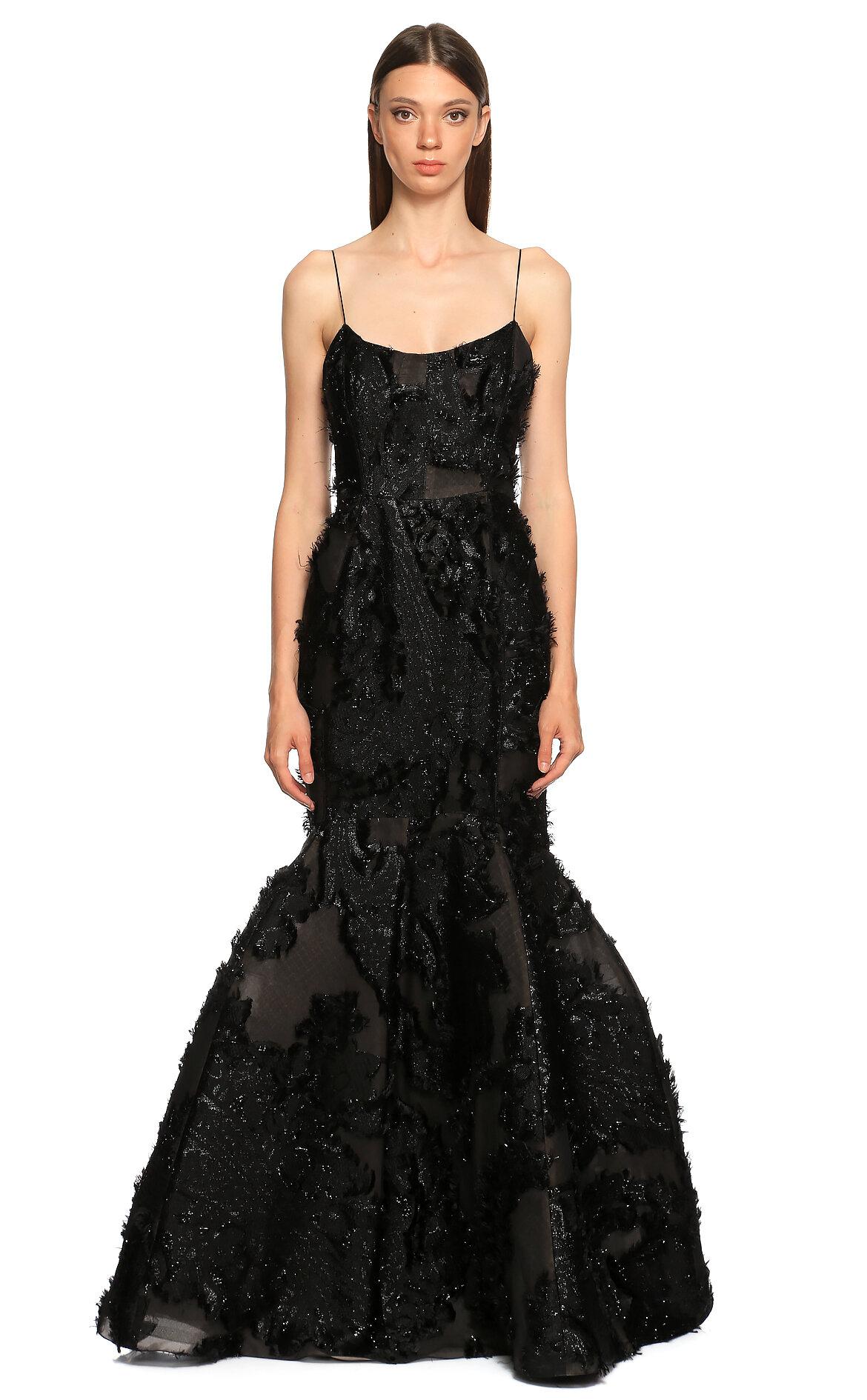 J. Mendel  Balık Kesim Siyah Gece Elbisesi