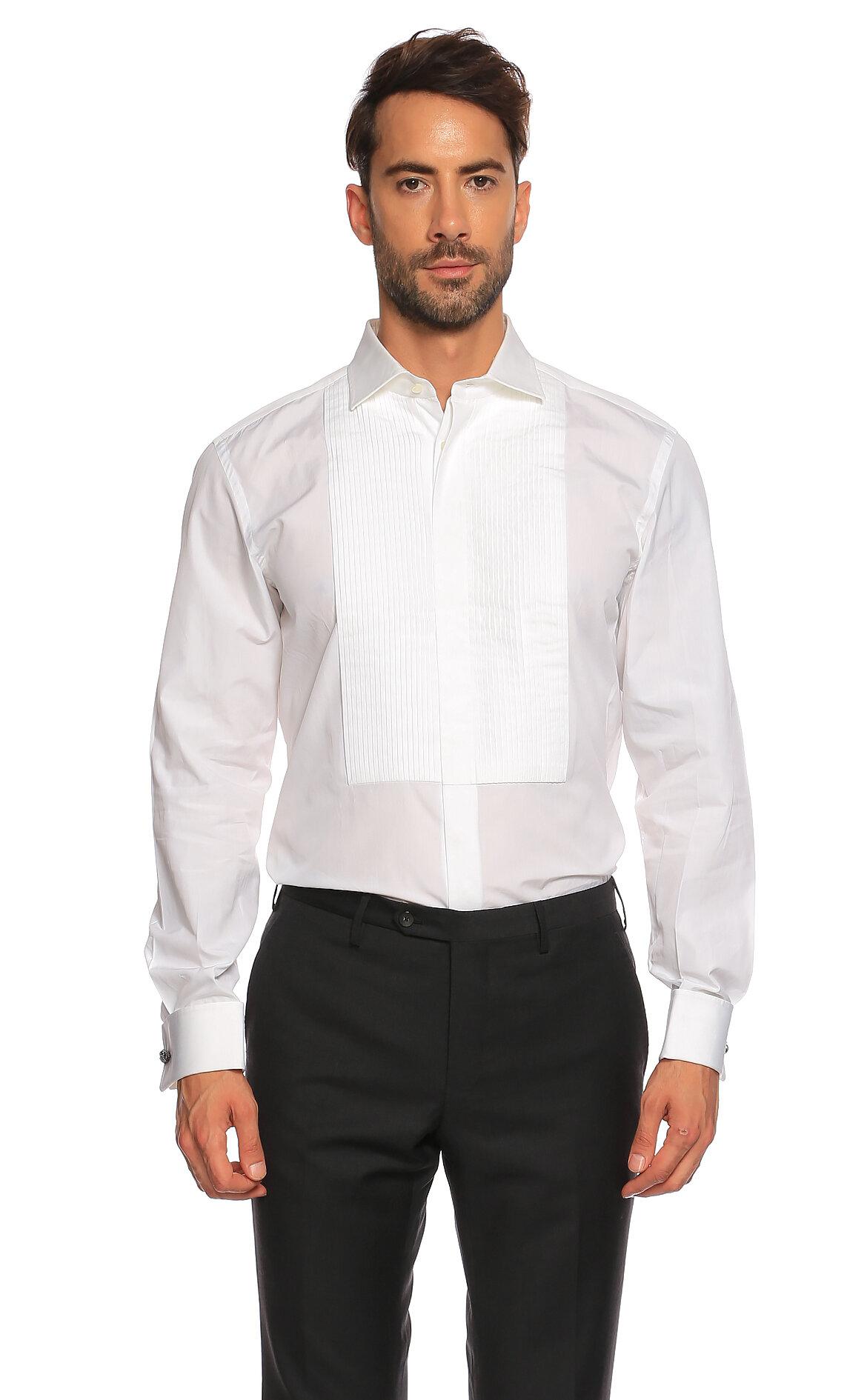 Ralph Lauren Black Label-Ralph Lauren Black Label Beyaz Smokin Gömlek
