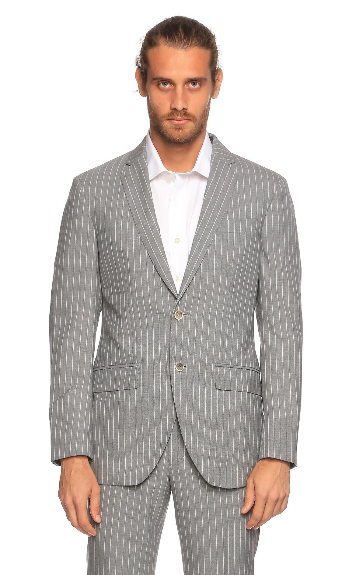 Hackett-Hackett Çizgili Gri Takım Elbise