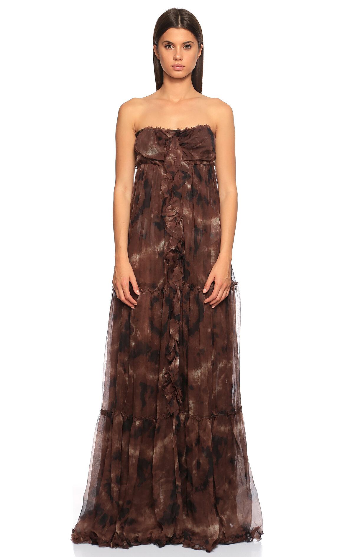 D&G-D&G Straplez Uzun Elbise