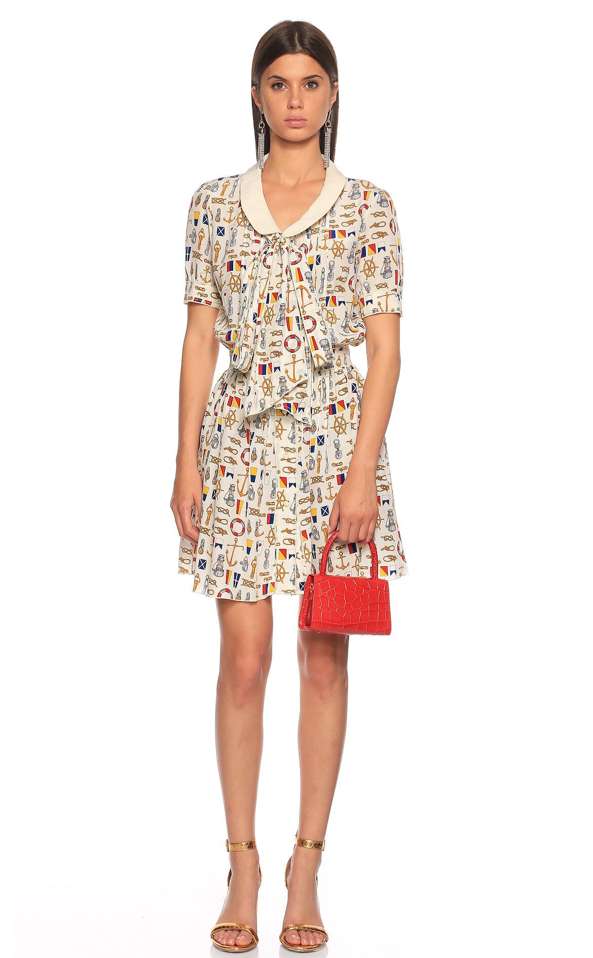 D&G-D&G Fular Yaka Mini Elbise