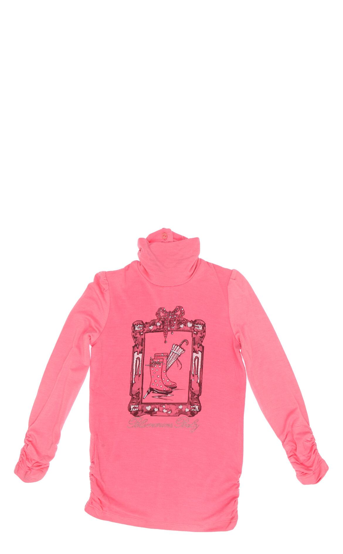 Miss Blumarine-Miss Blumarine Kız Bebek İşlemeli Dik Yaka T-Shirt