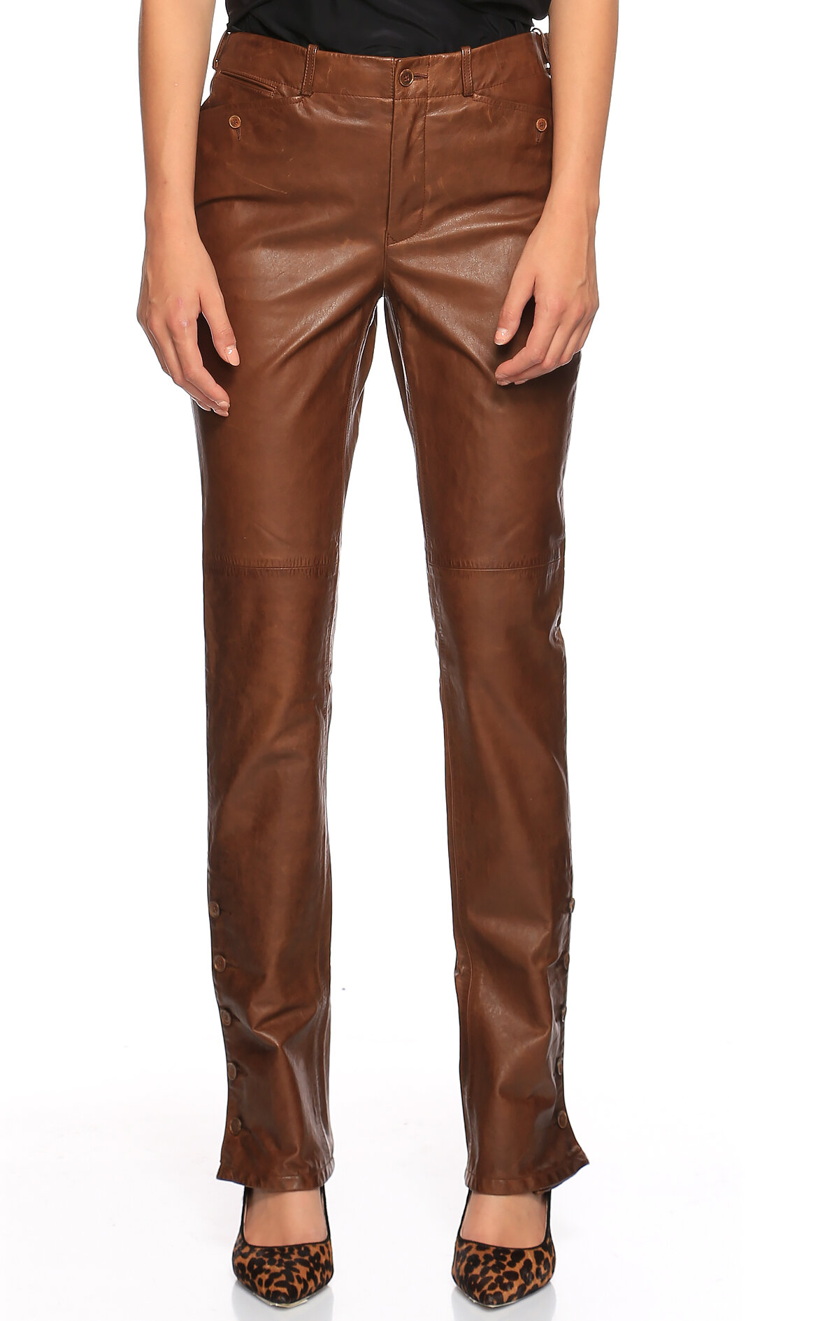Ralph Lauren Blue Label-Ralph Lauren Blue Label Deri Kahverengi Pantolon