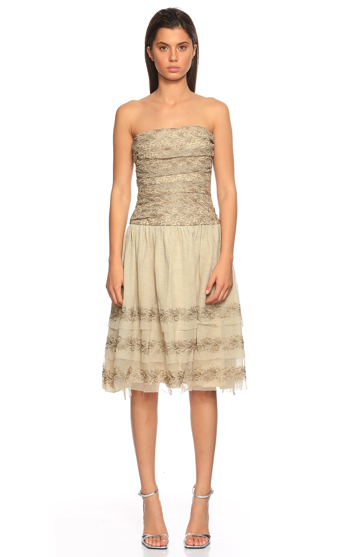 Ralph Lauren Black Label-Ralph Lauren Black Label İşleme Detaylı Straplez Elbise