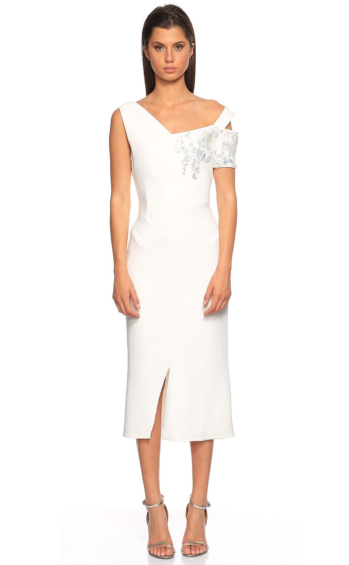 Antonio Berardi-Antonio Berardi İşleme Detaylı Midi Beyaz Elbise