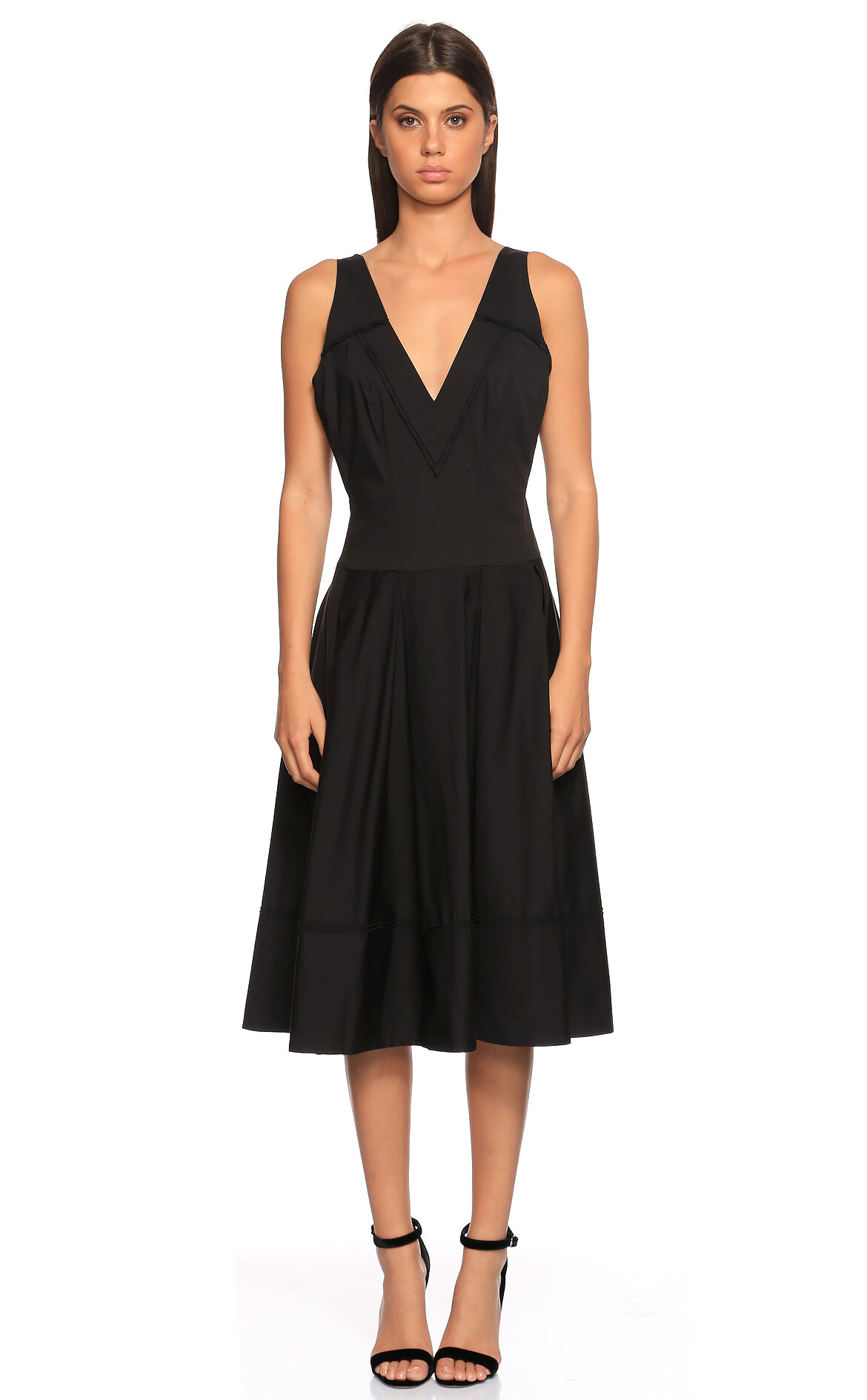 Donna Karan-Donna Karan V Yaka Siyah Elbise