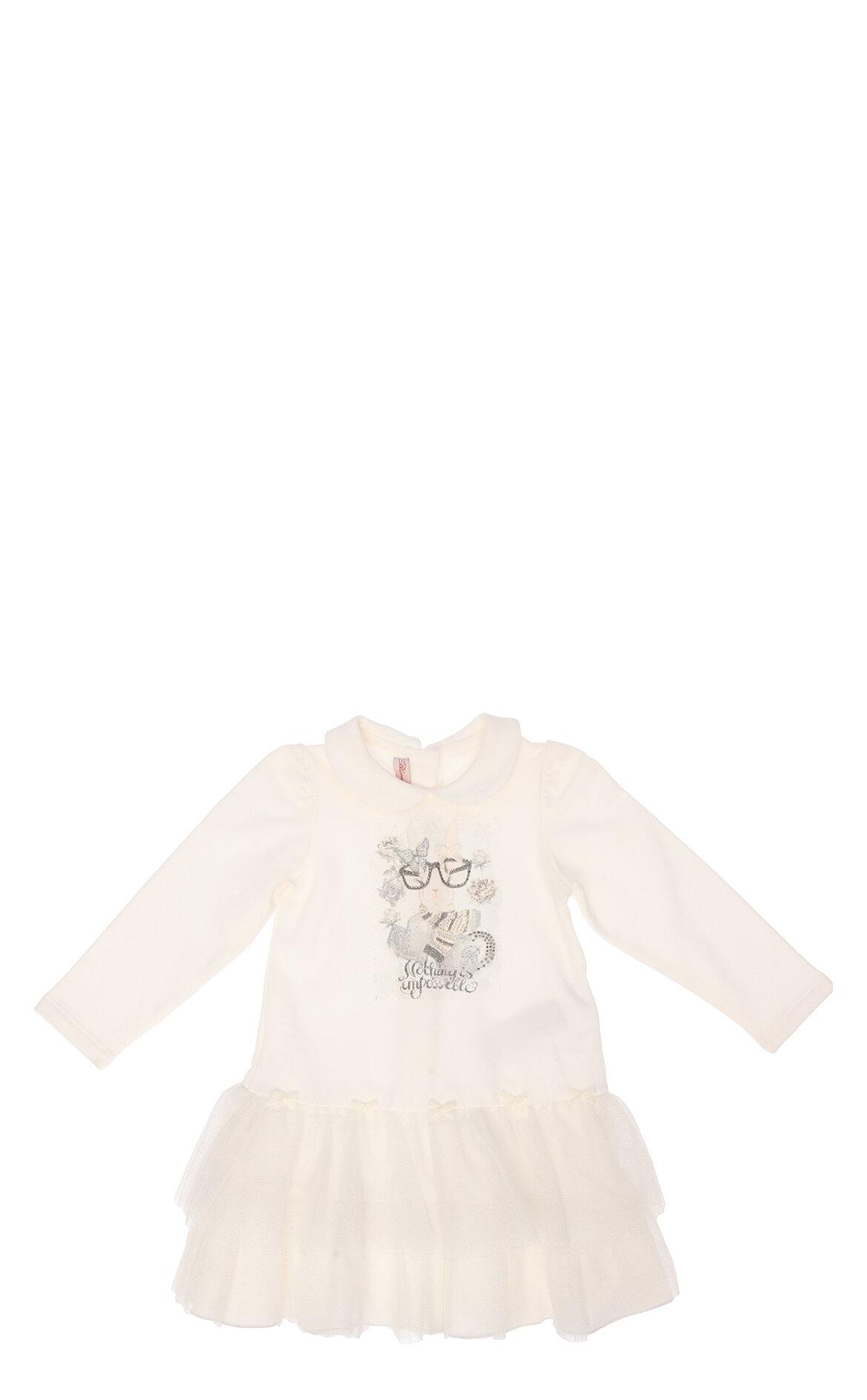 Miss Blumarine-Miss Blumarine Tül Detaylı Beyaz Elbise