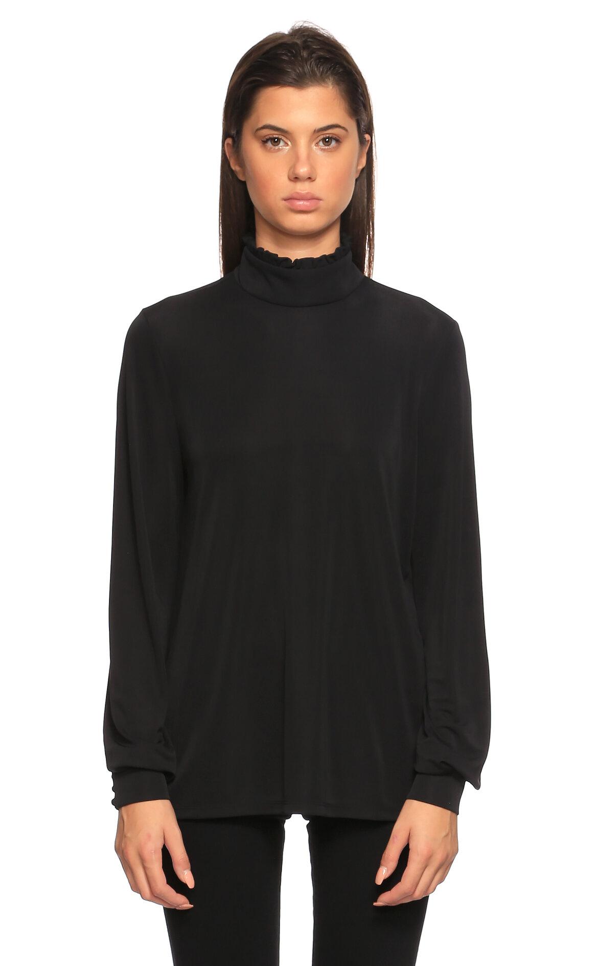 Juicy Couture-Juicy Couture Boğazlı Siyah Bluz