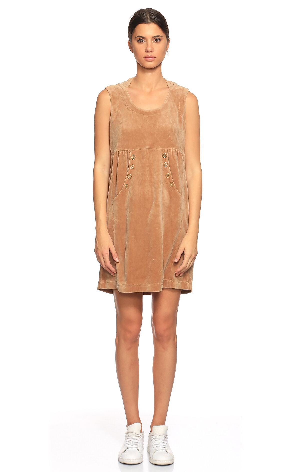 Juicy Couture-Juicy Couture Kapüşonlu Kadife Mini Kahverengi Elbise
