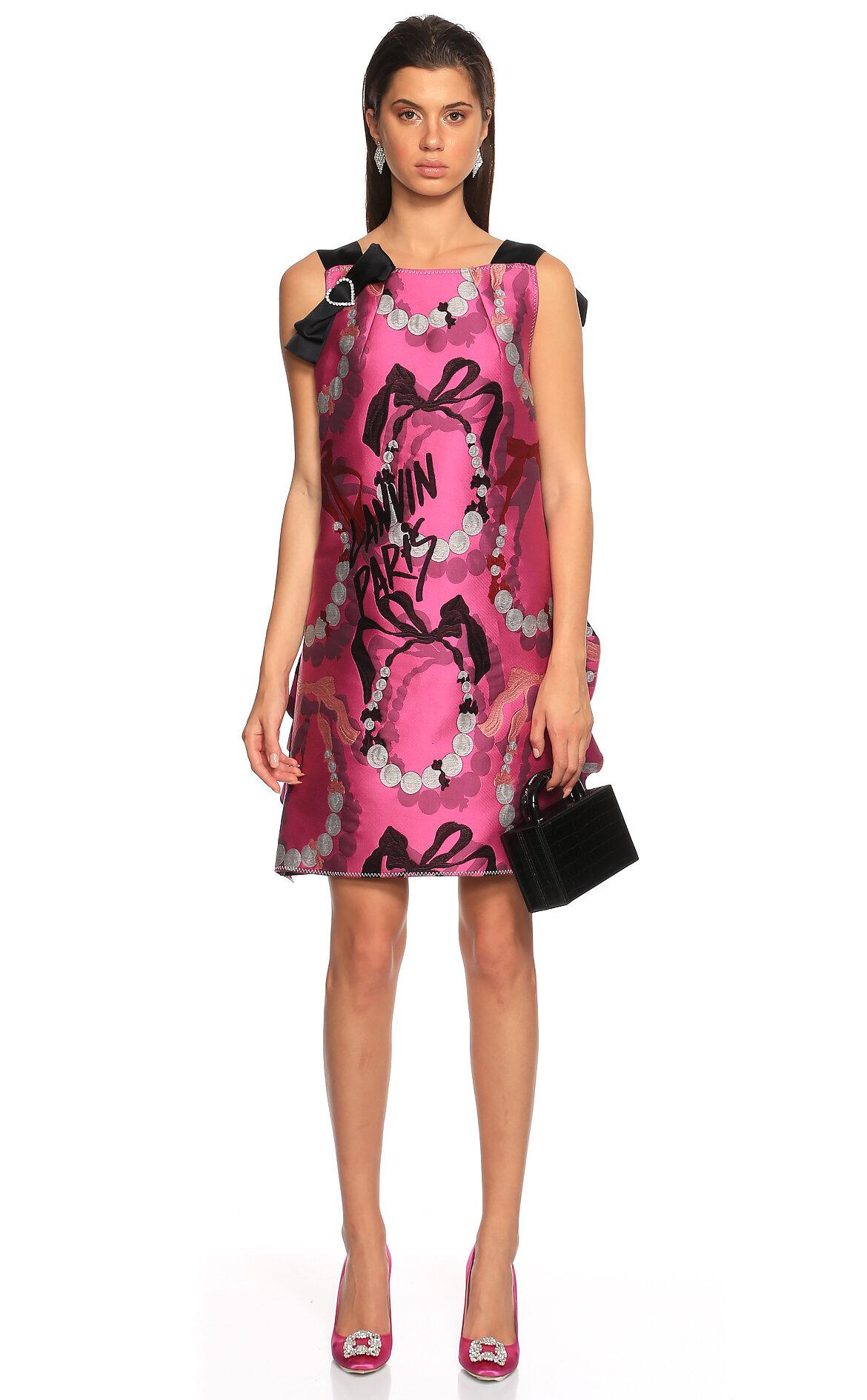 Lanvin-Lanvin İşleme Detaylı Fuşya Mini Elbise
