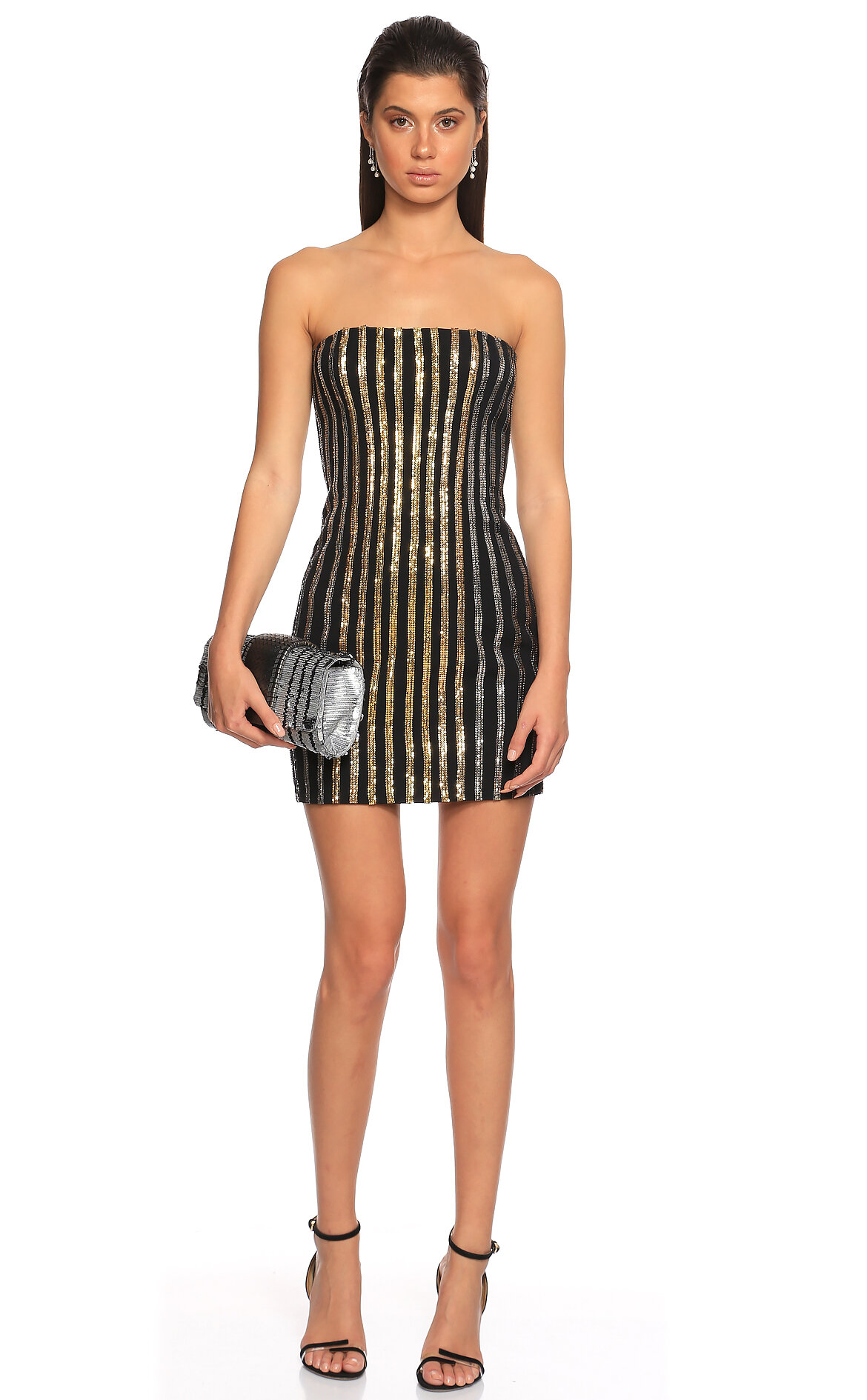 Balmain-Balmain Pul Payet Straplez Mini Siyah Silver Elbise