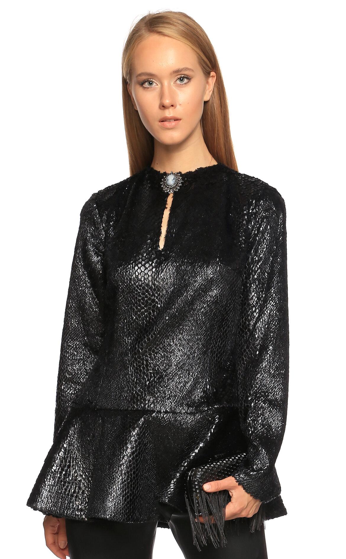 Kleris Strumza  Yılan Derisi Desenli Siyah Bluz