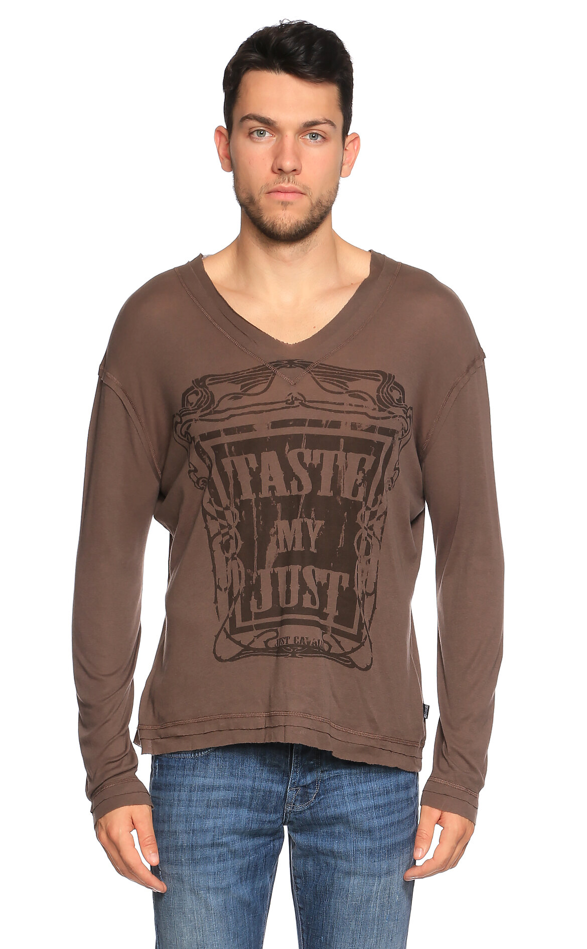 Just Cavalli-Just Cavalli V Yaka Uzun Kollu Kahverengi T-Shirt