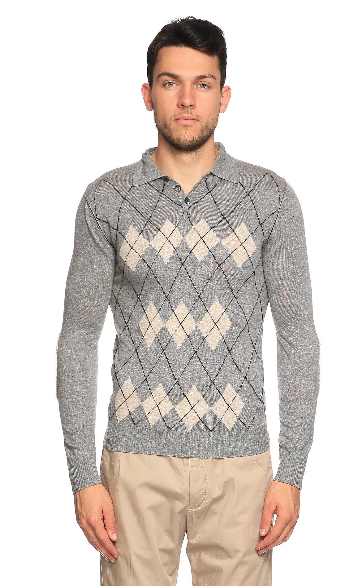Just Cavalli-Just Cavalli Baklava Desen Uzun Kollu Gri Polo T-Shirt