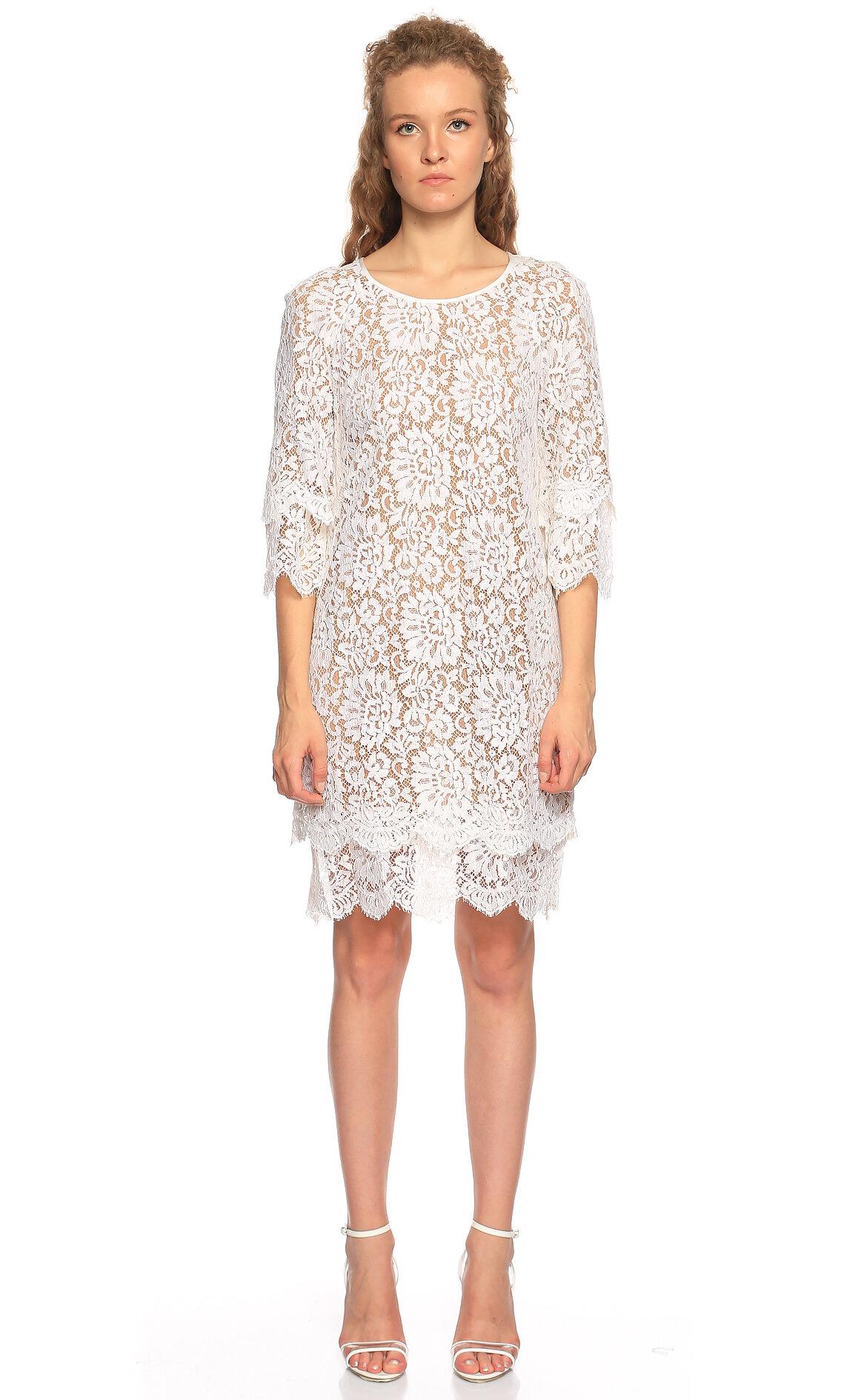Michael Kors Collection-Michael Kors Collection Dantel Desen Beyaz Elbise