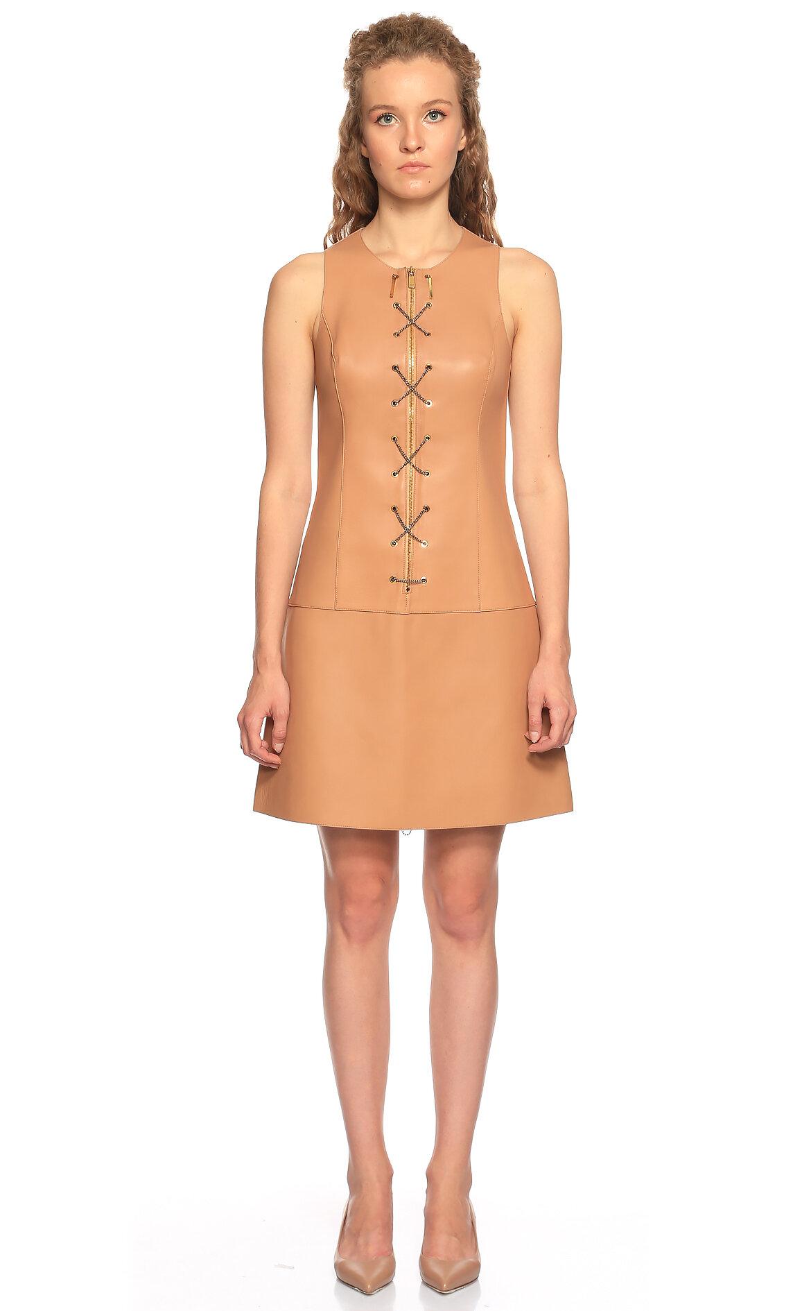 Michael Kors Collection-Michael Kors Collection Deri Bej Mini Elbise