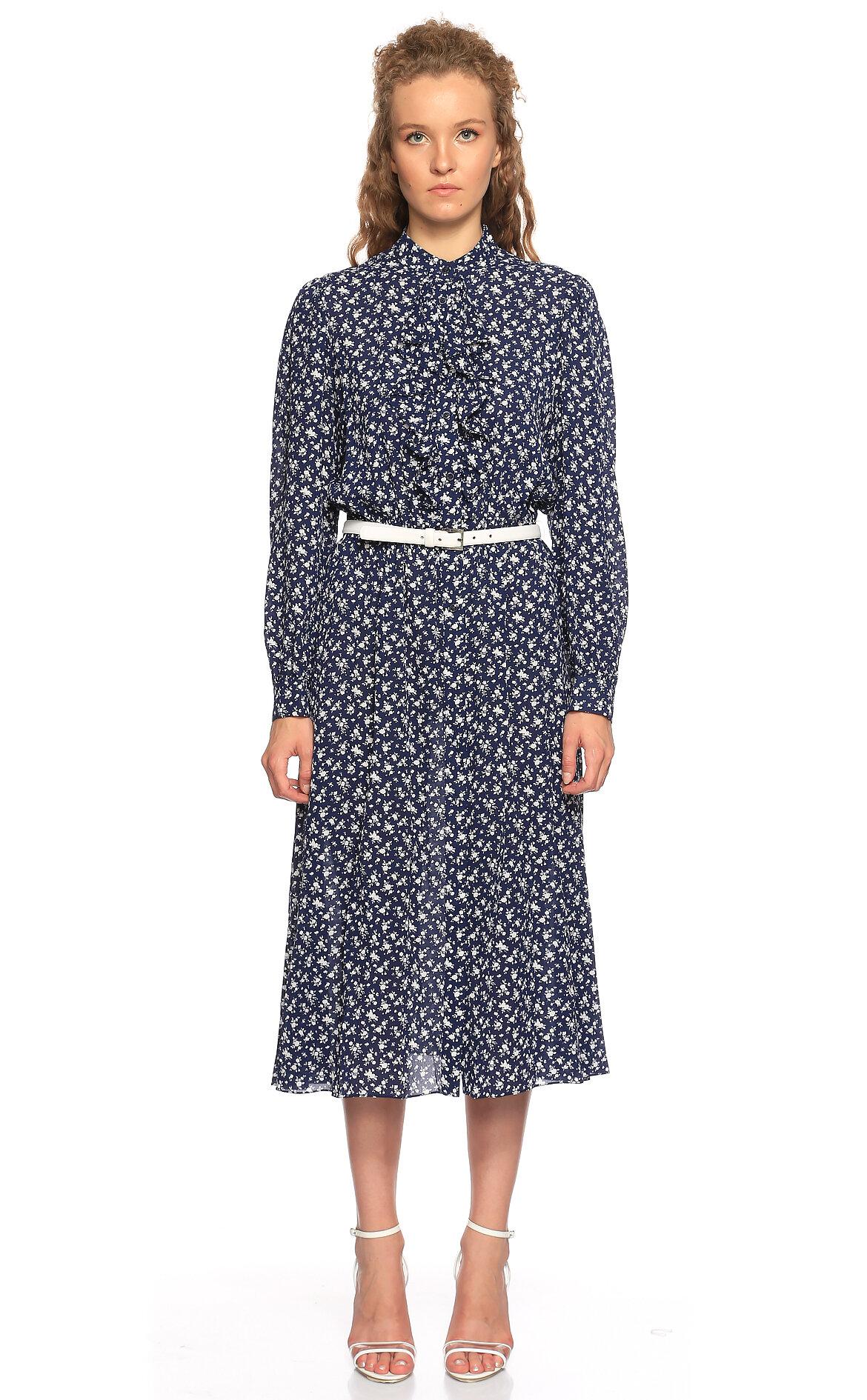 Michael Kors Collection-Michael Kors Collection Çiçek Desenli Midi Lacivert Elbise