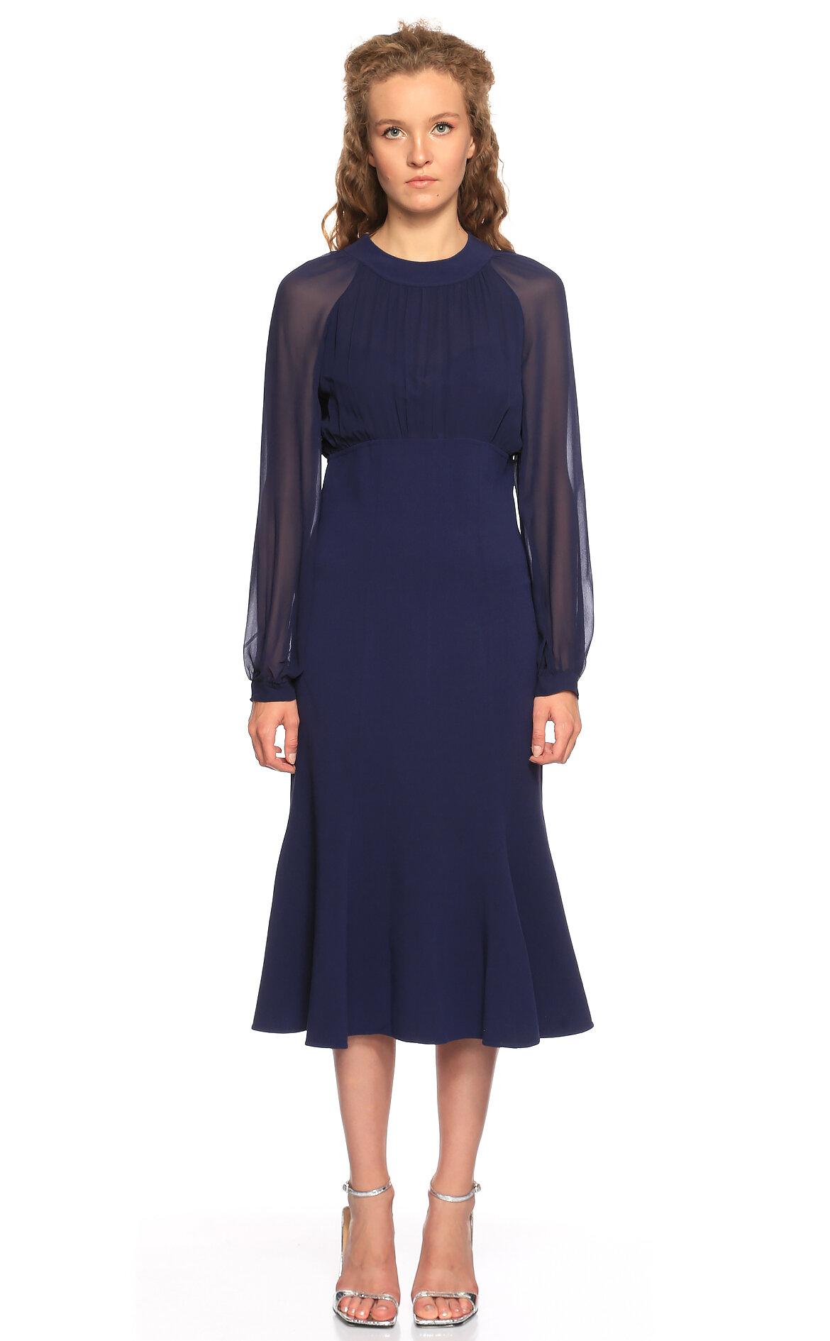 Michael Kors Collection-Michael Kors Collection Midi Lacivert Elbise
