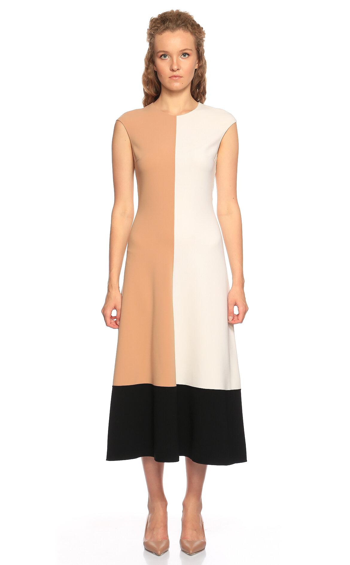 Michael Kors Collection-Michael Kors Collection Midi Siyah Beyaz Elbise