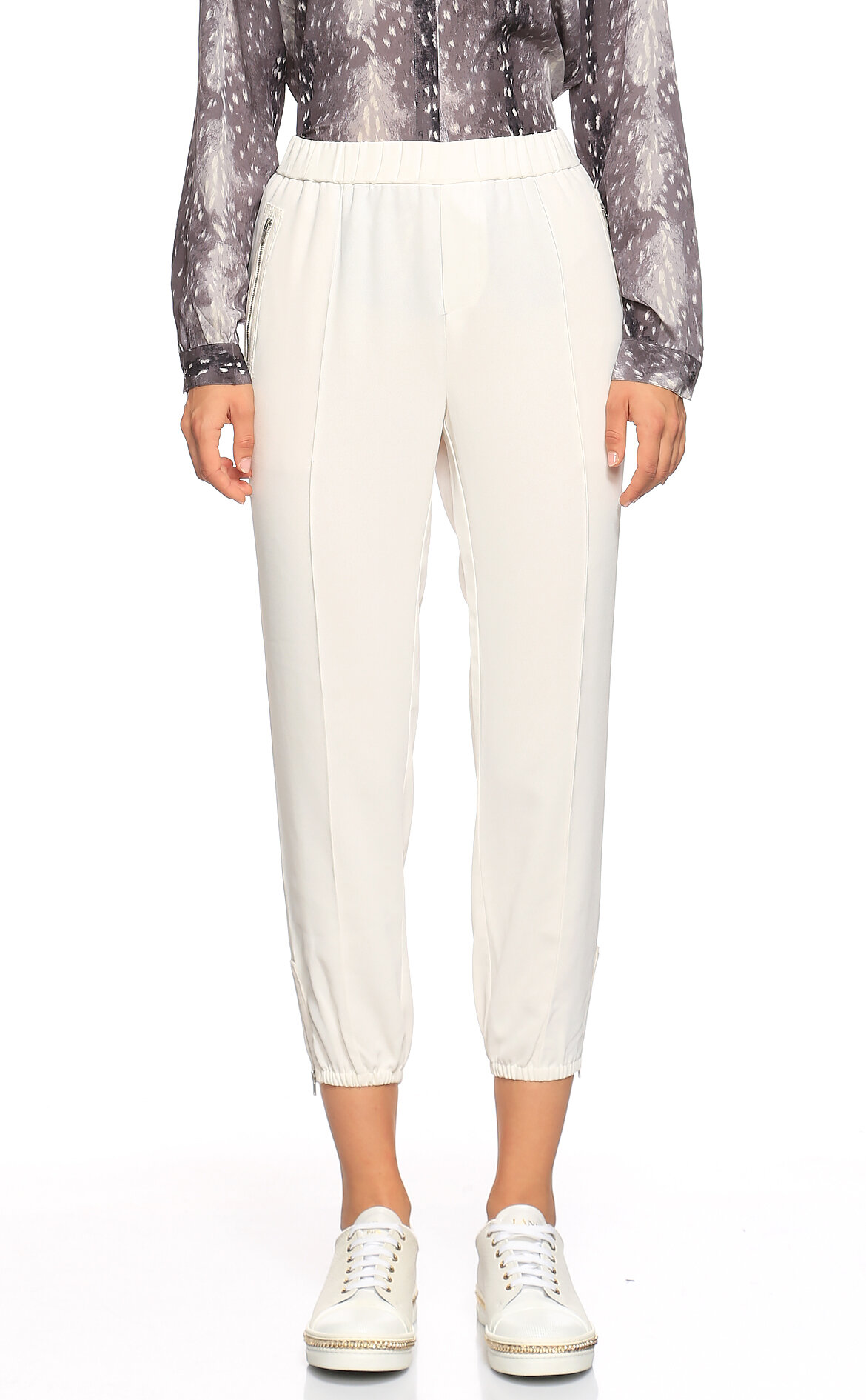 Joie-Joie Paçası Lastikli Beyaz Pantolon