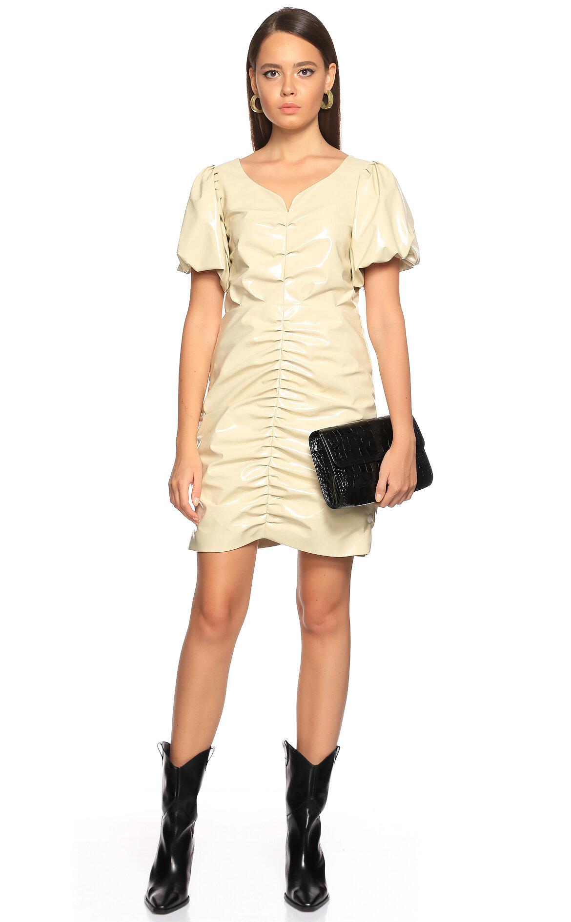 Nisse-Nisse Deri Mini Beyaz Elbise