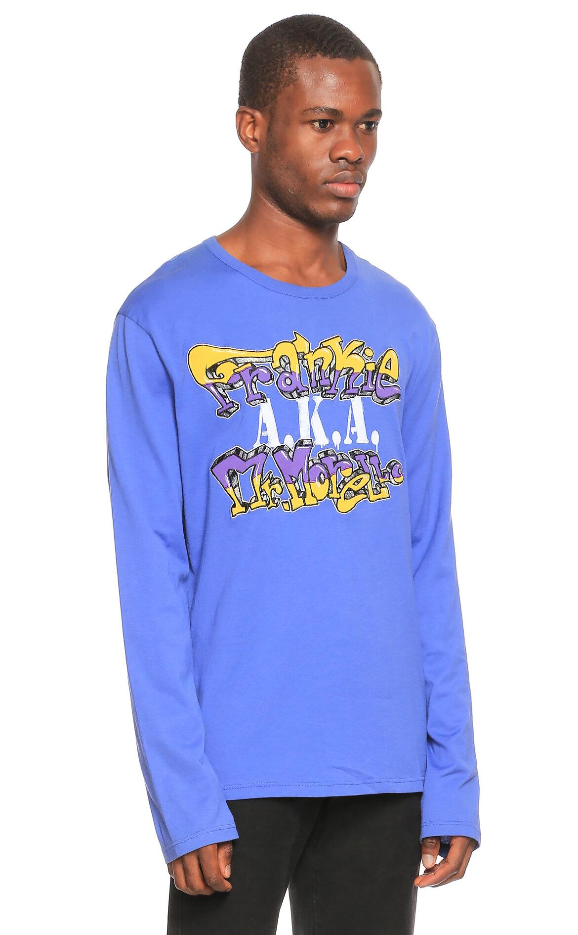 Frankie Morello-Frankie Morello Baskı Desen Uzun Kollu Mavi T-Shirt