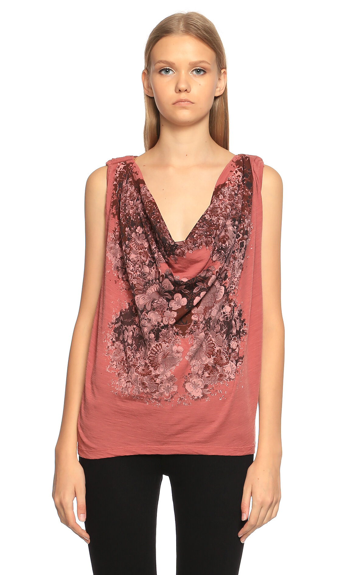 Just Cavalli-Just Cavalli Baskılı Bordo T-Shirt
