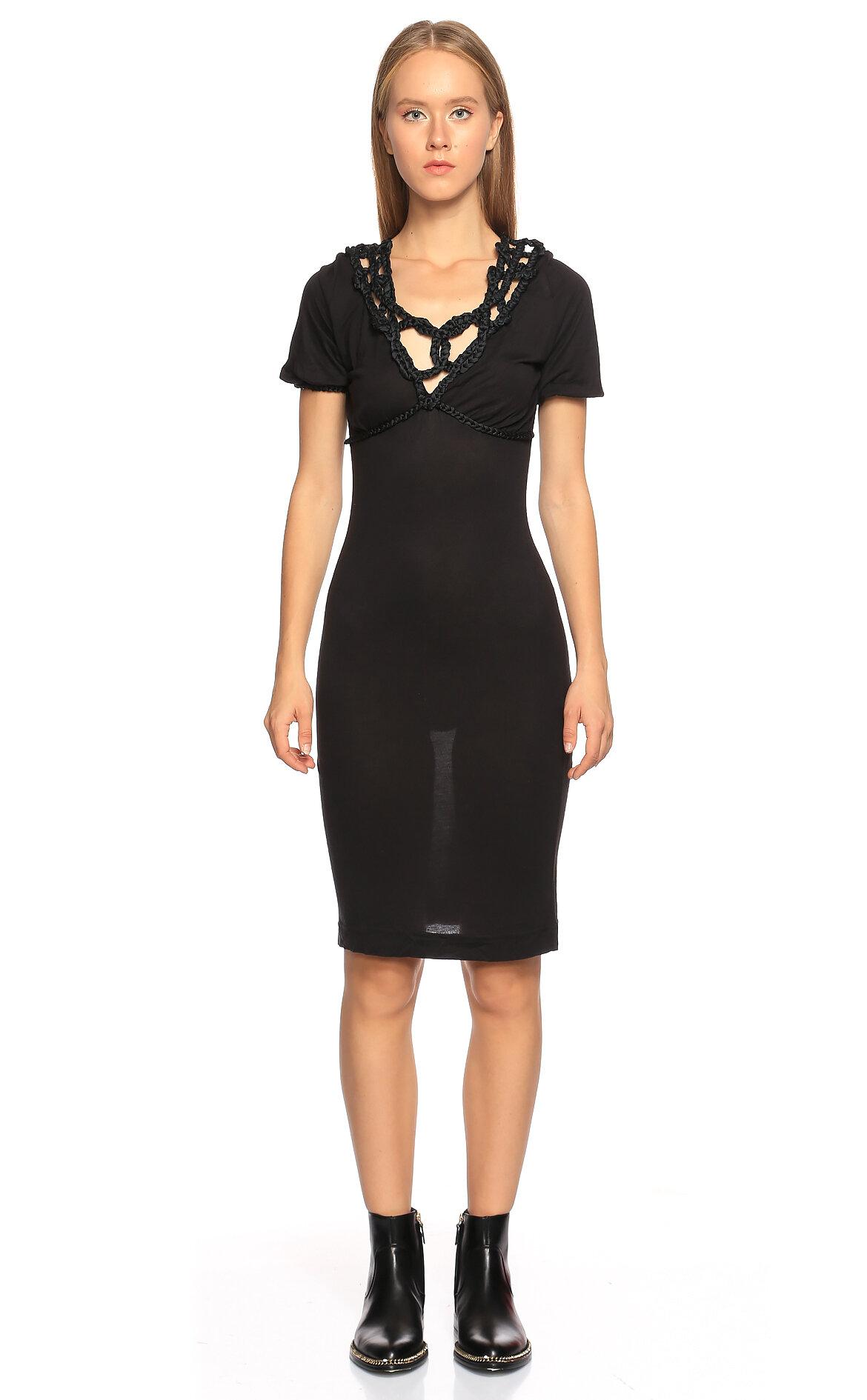 Just Cavalli-Just Cavalli Yakası İp Detaylı Kısa Kollu Siyah Elbise
