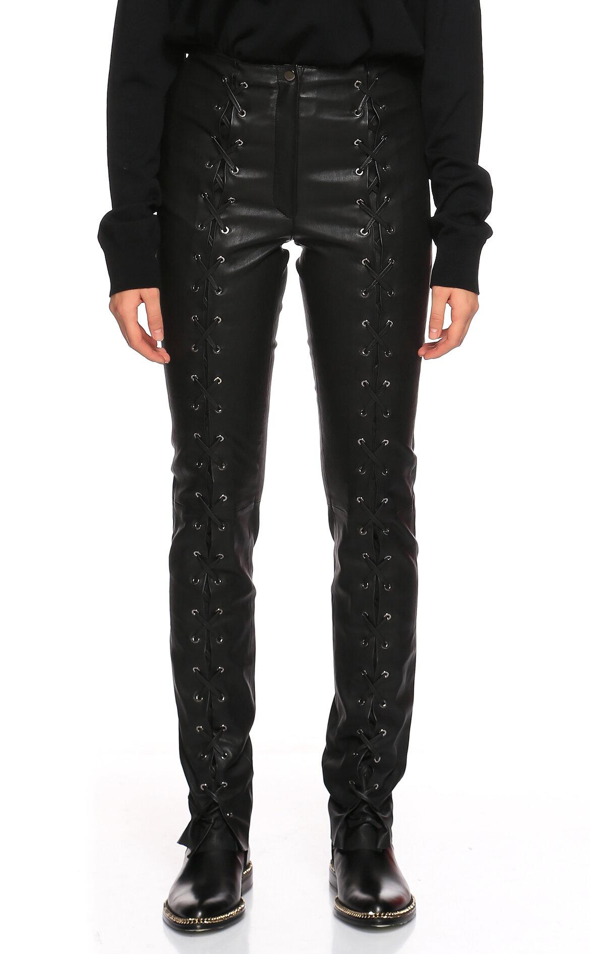 Di Project-Di Project Bağcık Detaylı Deri Siyah Pantolon