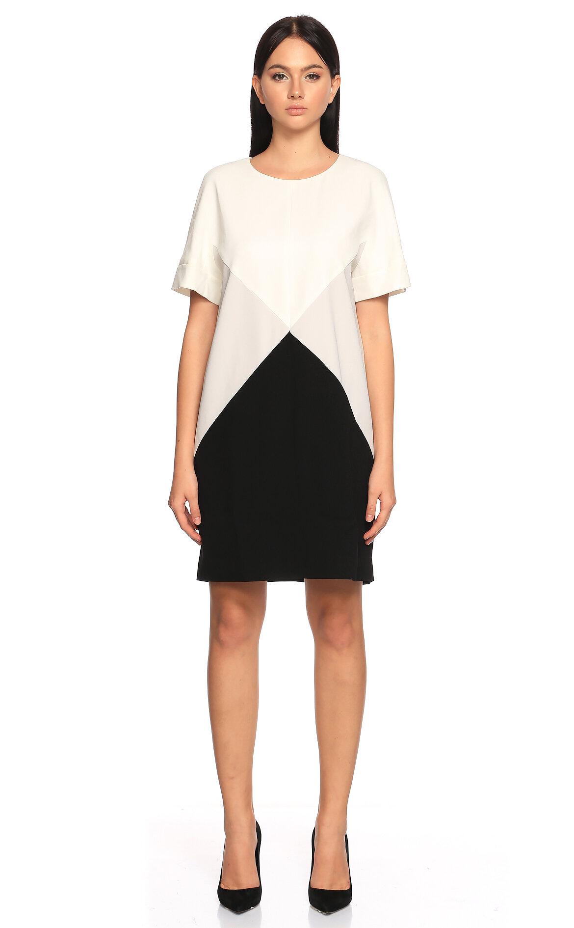 Paule Ka-Paule Ka Kısa Kollu Siyah Beyaz Elbise