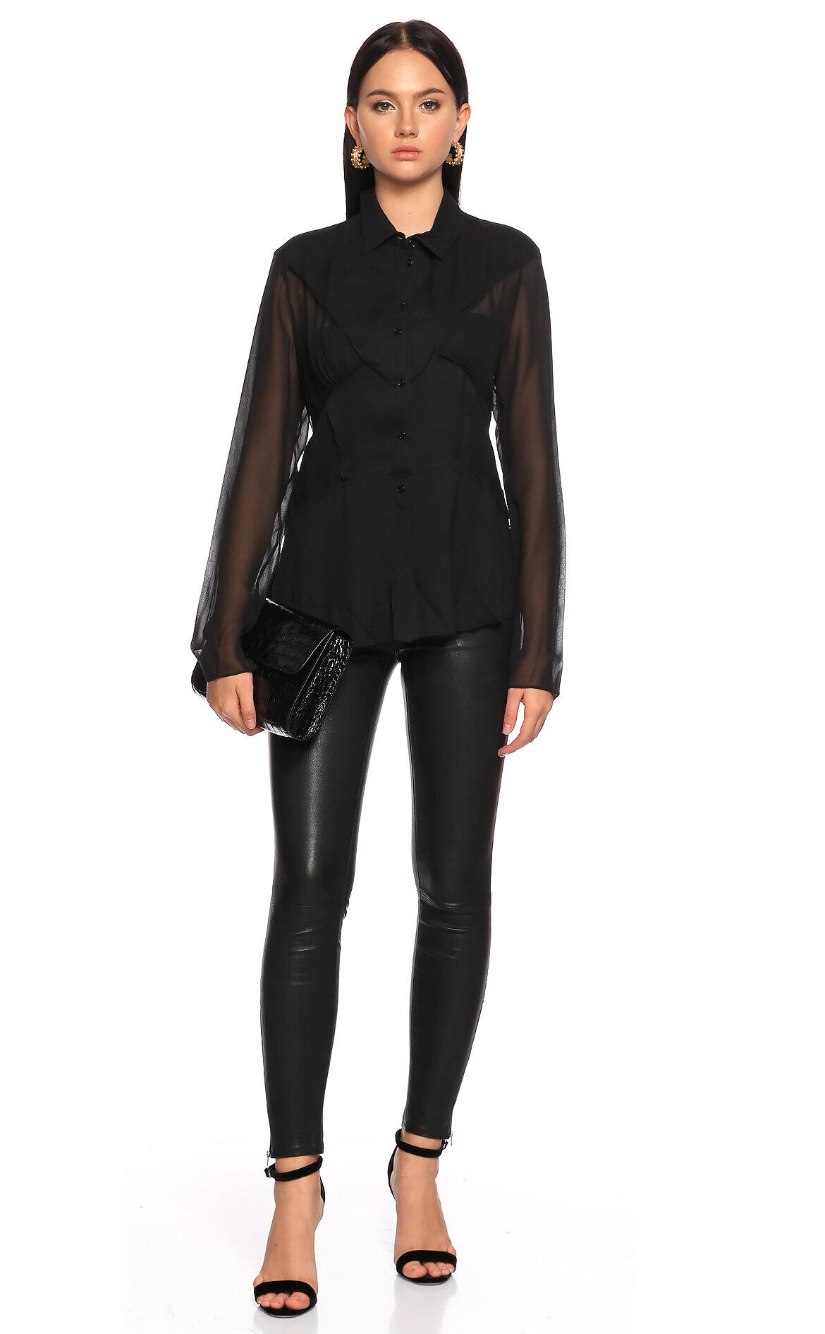 Joseph  Transparan Detaylı Siyah İpek Gömlek