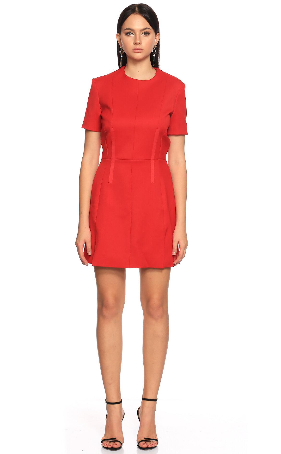 Carven-Carven Kırmızı Mini Kısa Kollu Elbise