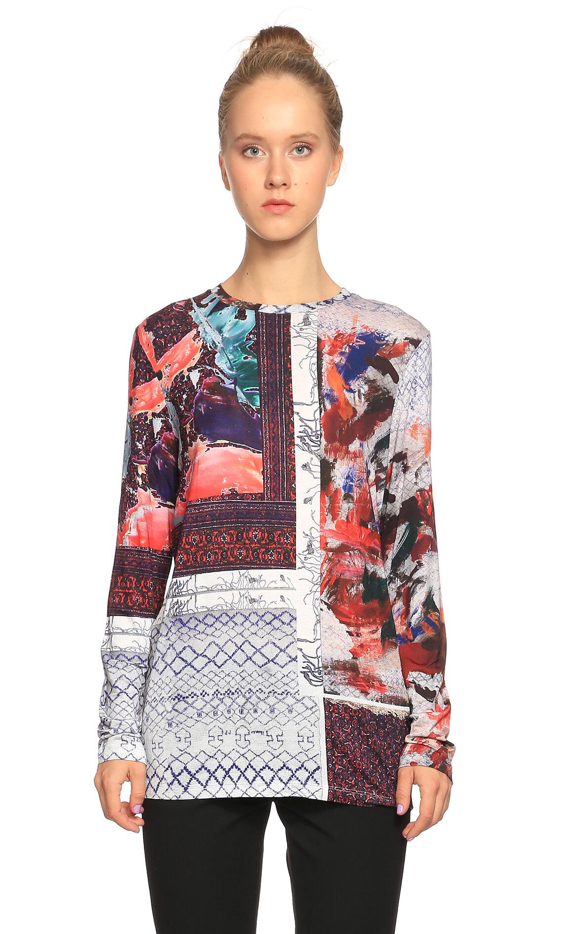 Prabal Gurung-Prabal Gurung Desenli Uzun Kollu Çok Renkli  Bluz
