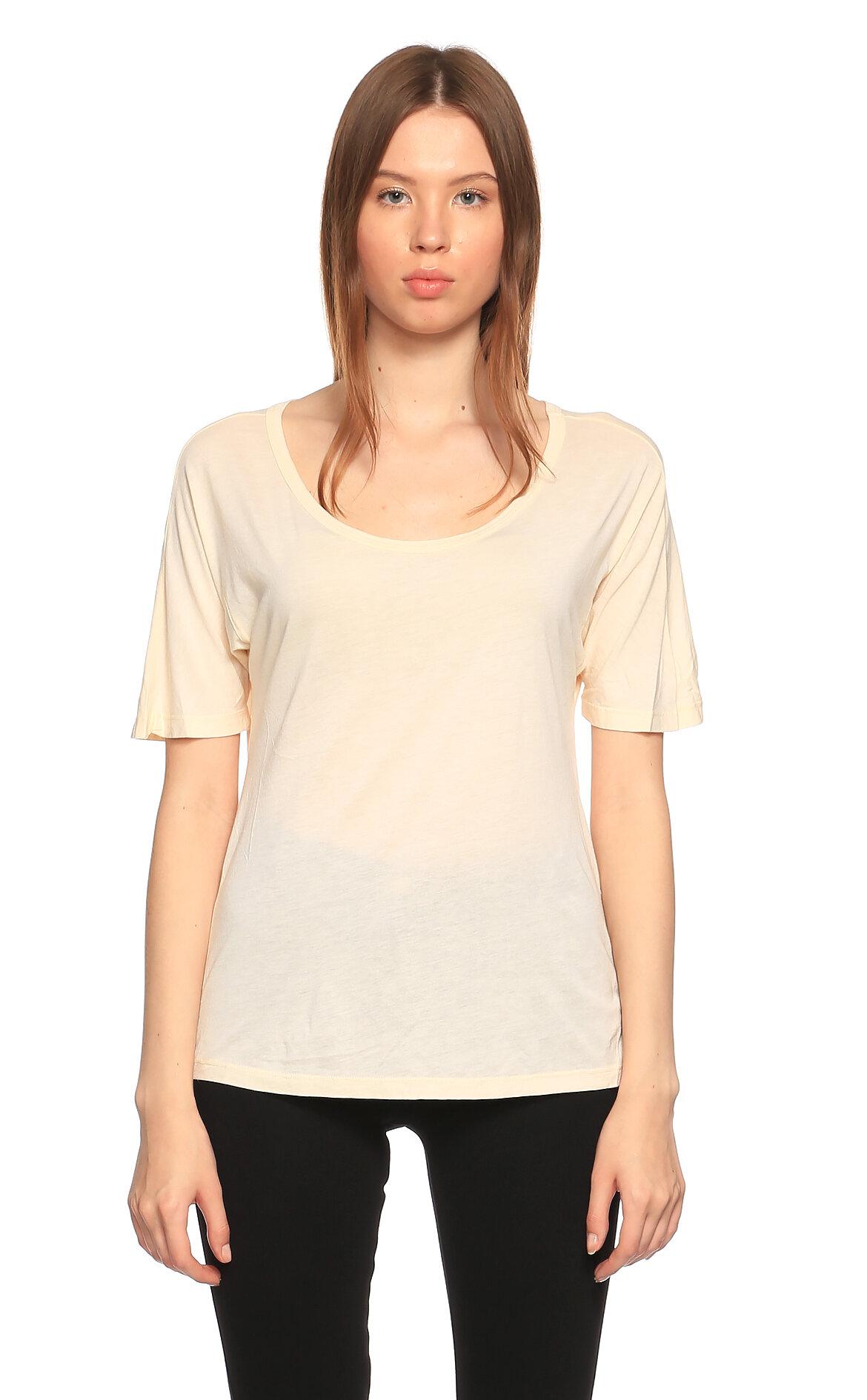 Clu-Clu Yuvarlak Yaka Krem T-Shirt