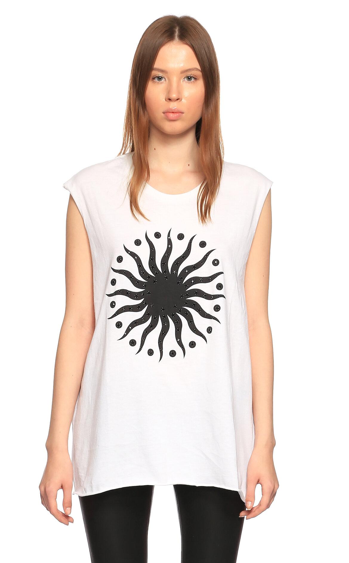 E.Vil-E.Vil Baskı Desen Kolsuz Arkası Delikli Beyaz T-Shirt