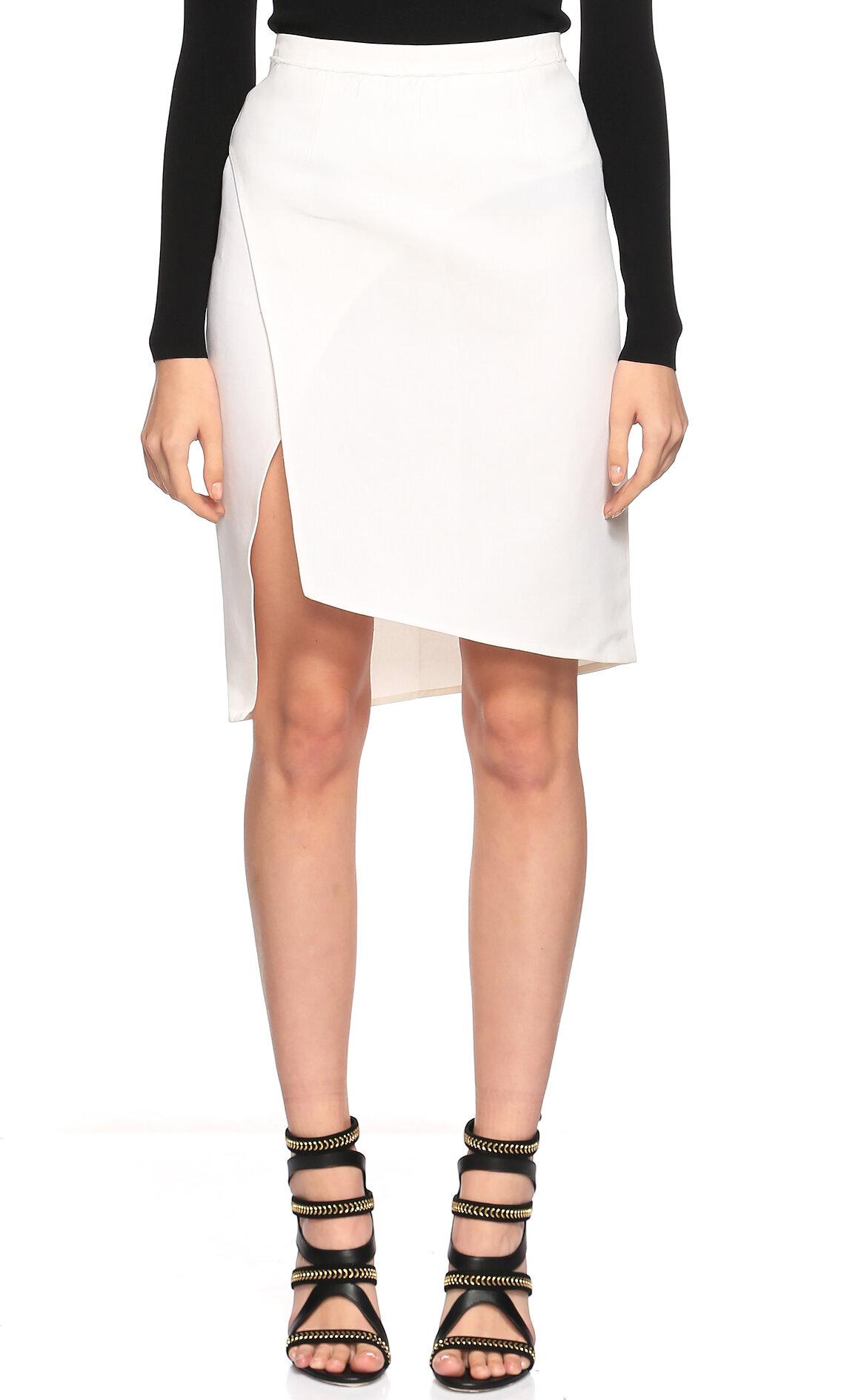 Costume National-Costume National Asimetrik Kesim Yırtmaçlı Beyaz Etek