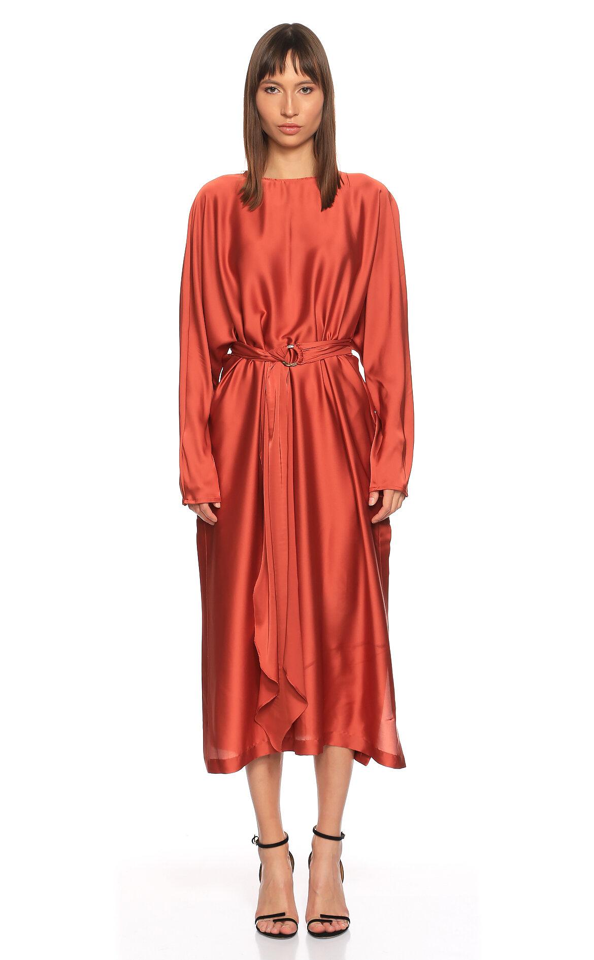Nazlı Ceren-Nazlı Ceren Saten Midi Kiremit Elbise