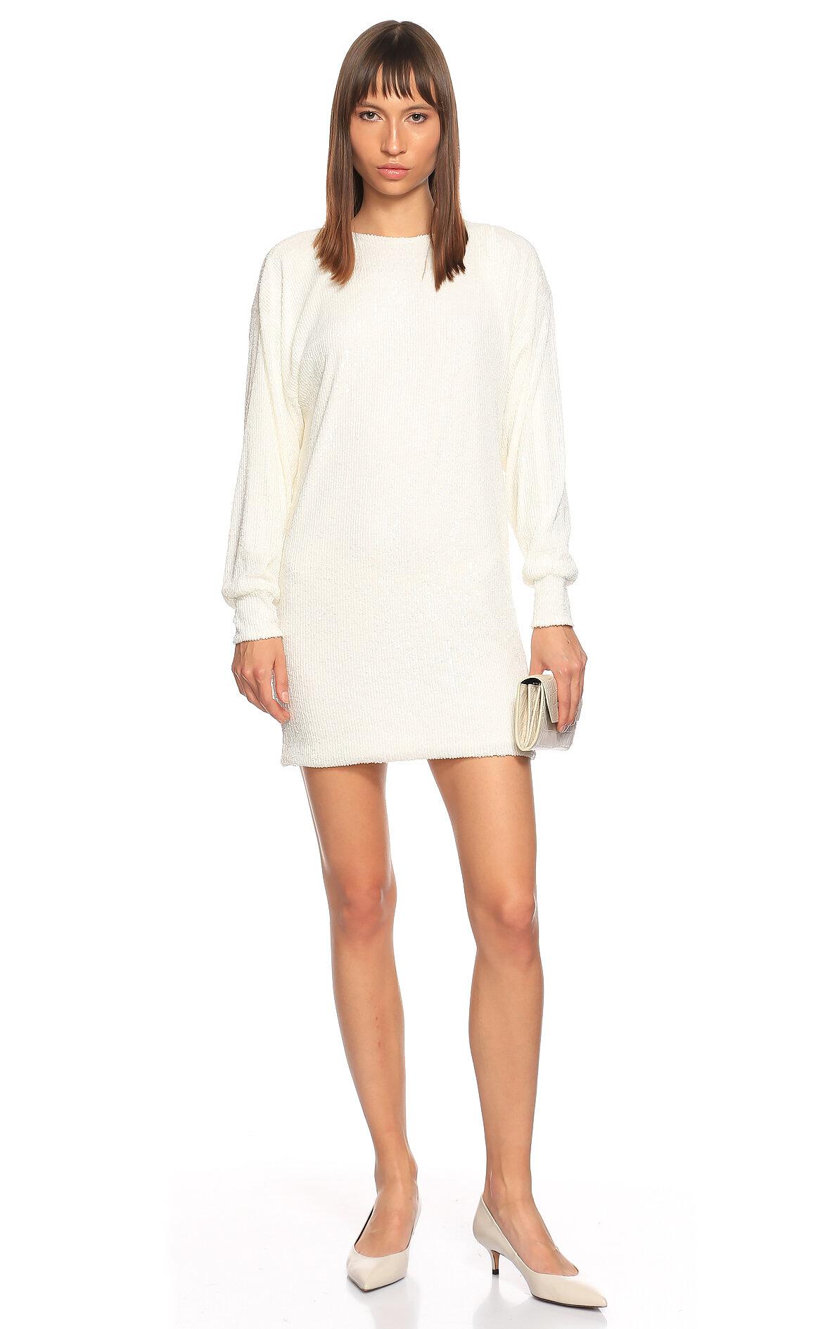 Nazlı Ceren-Nazlı Ceren Pul Payet Mini Beyaz Elbise