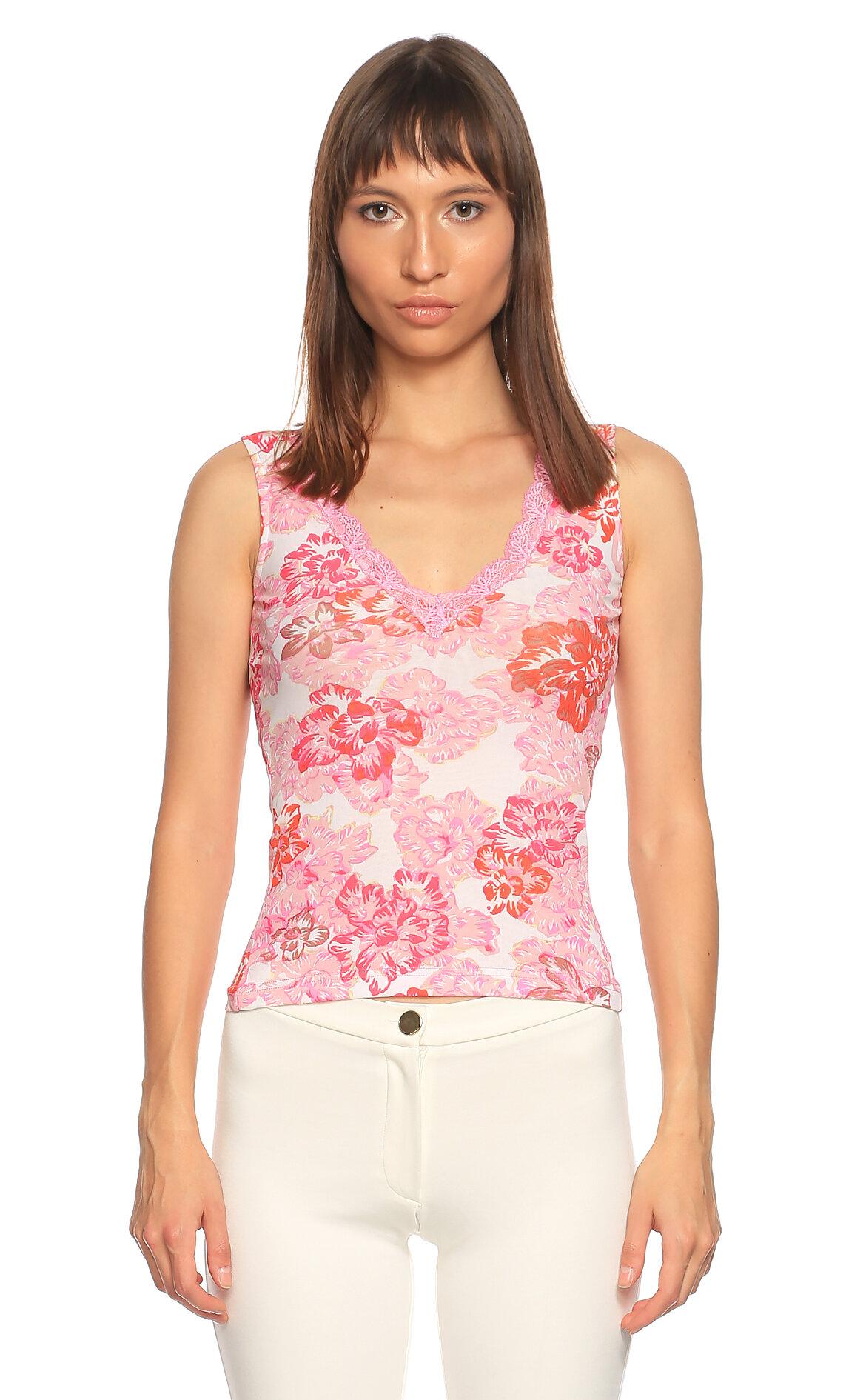 Gerard Darel-Gerard Darel Çiçek Desenli Kolsuz Pembe T-Shirt