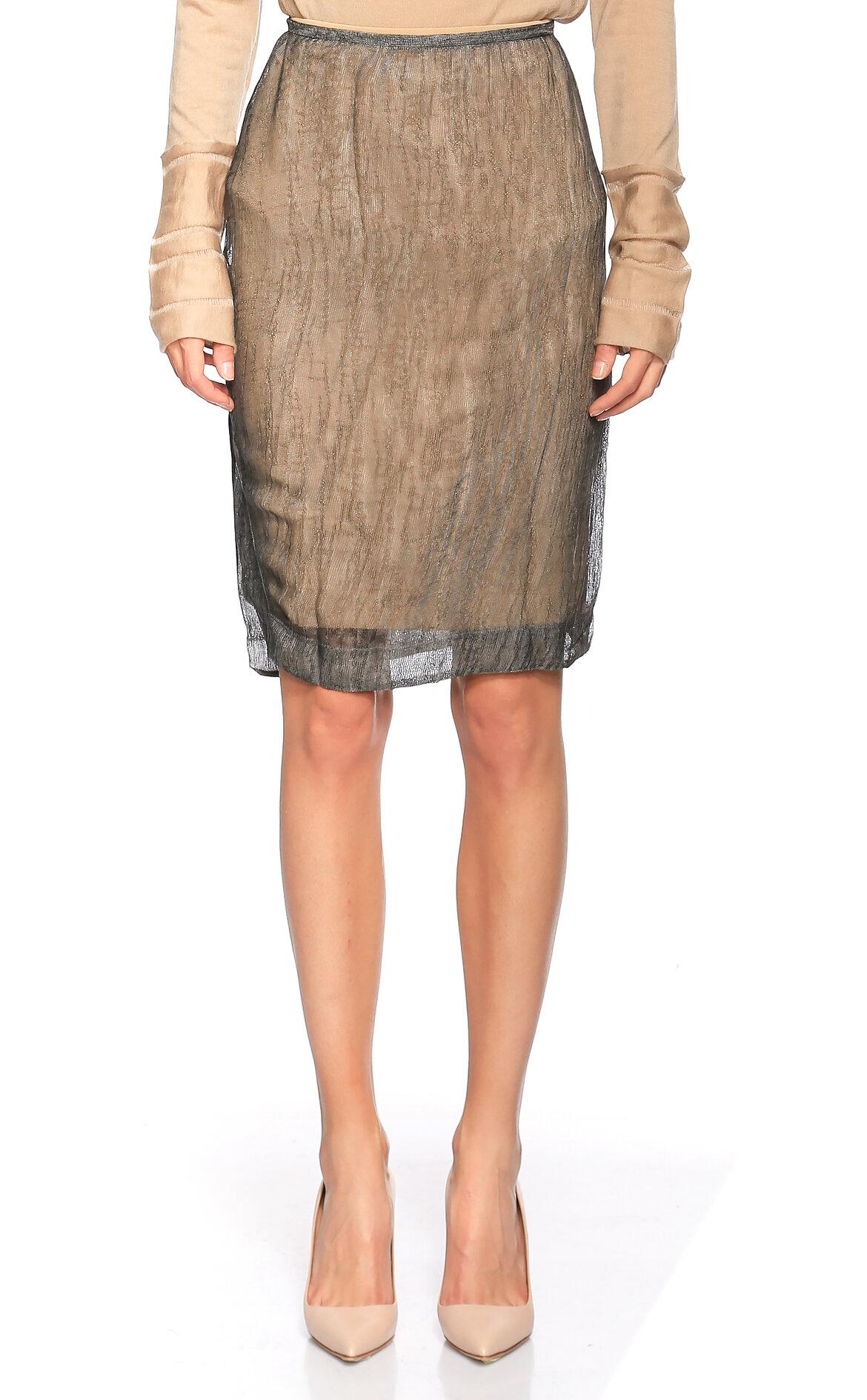 Donna Karan-Donna Karan Tül Detaylı Kalem Bej Sityah Etek
