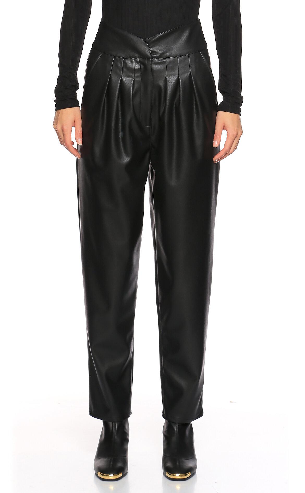 Nisse-Nisse Deri Yüksek Bel Siyah Pantolon
